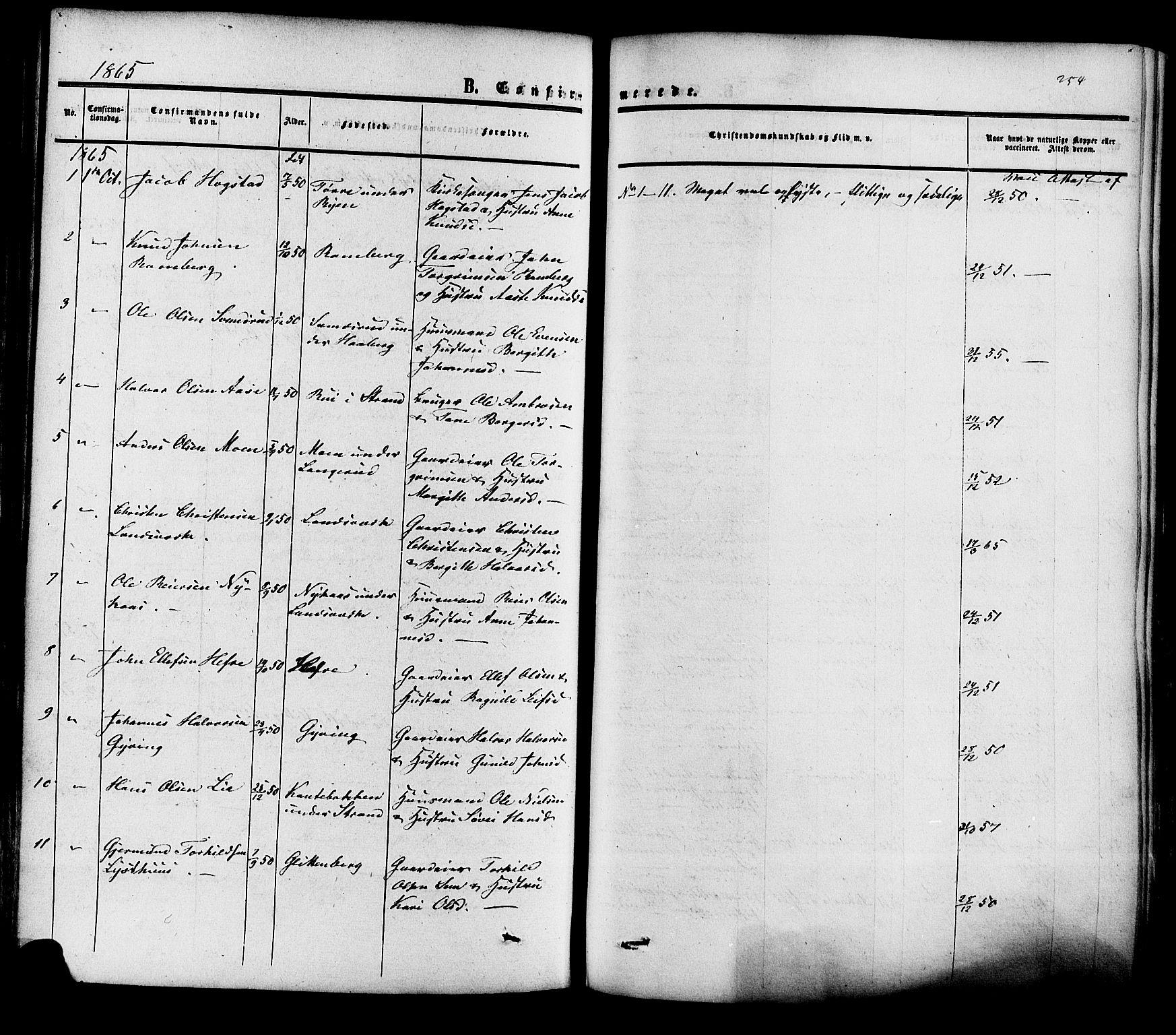 SAKO, Heddal kirkebøker, F/Fa/L0007: Ministerialbok nr. I 7, 1855-1877, s. 254