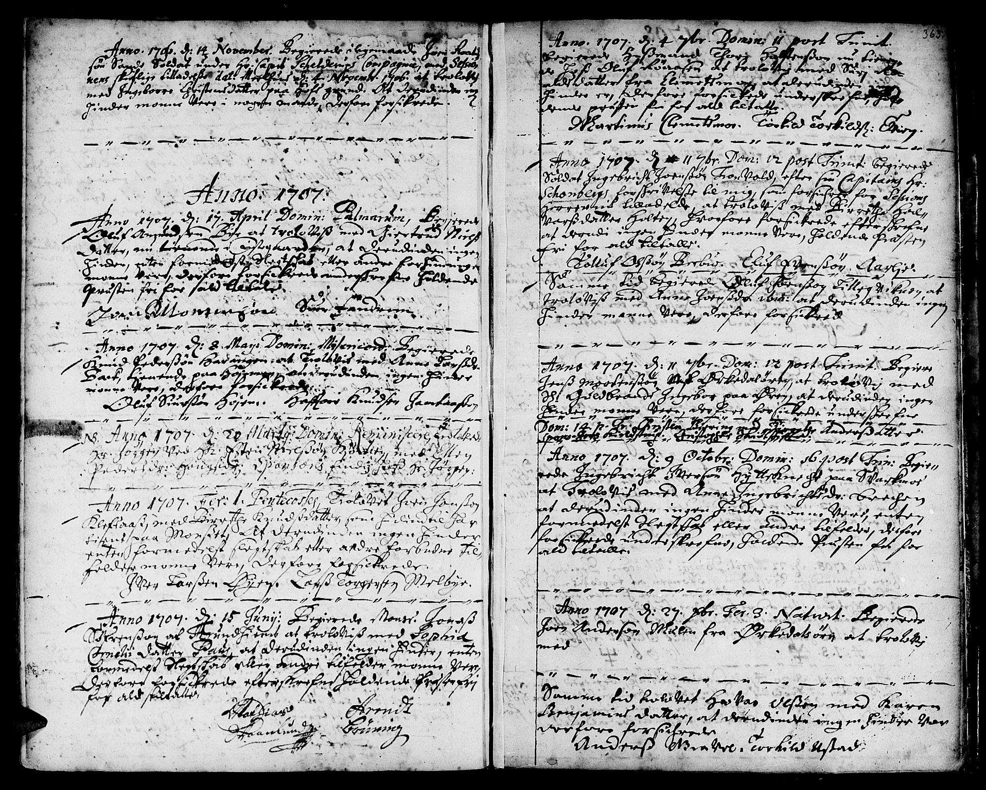 SAT, Ministerialprotokoller, klokkerbøker og fødselsregistre - Sør-Trøndelag, 668/L0801: Ministerialbok nr. 668A01, 1695-1716, s. 362-363