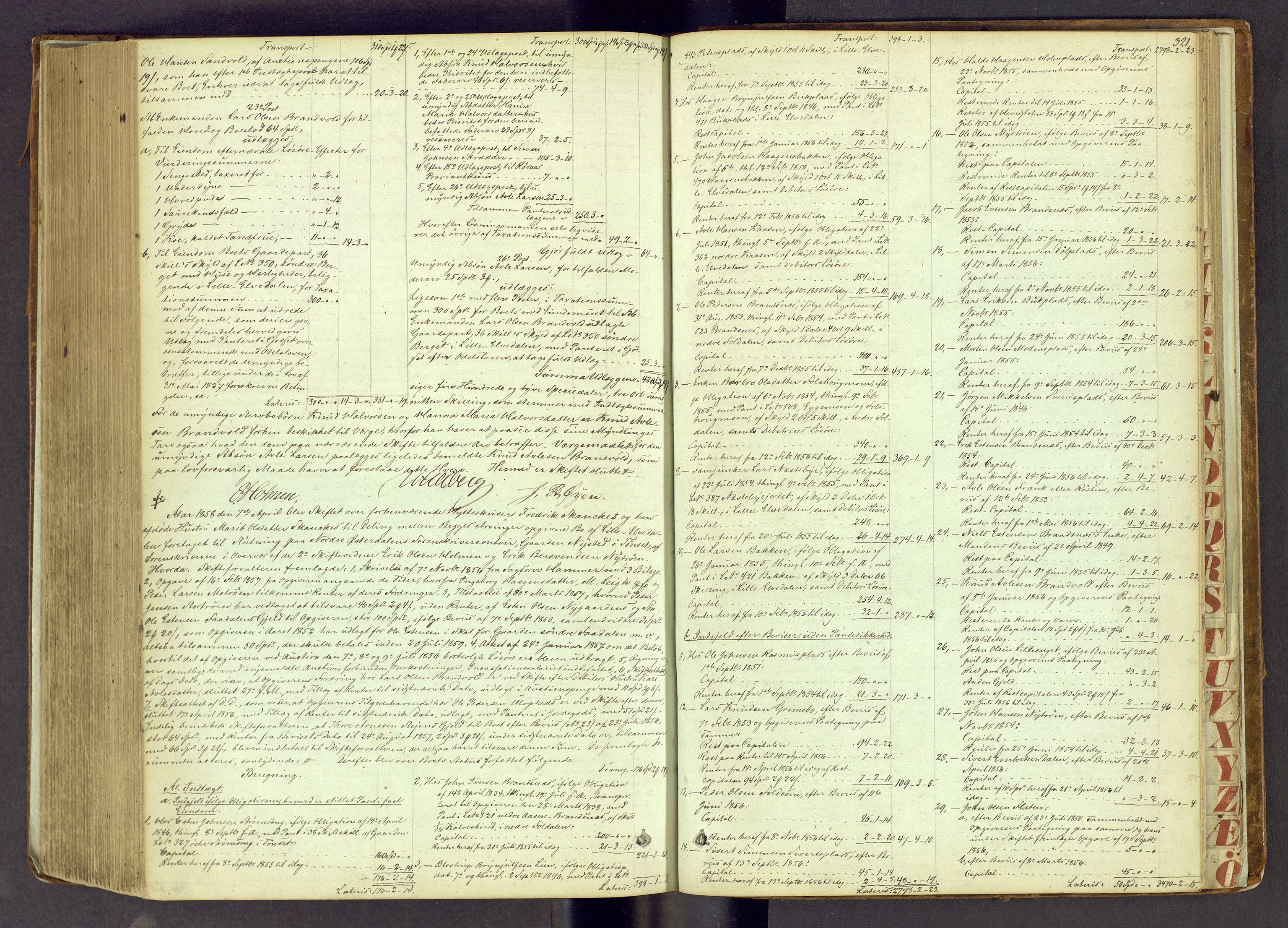 SAH, Nord-Østerdal tingrett, J/Jd/L0001: Skifteutlodningsprotokoll, 1847-1858, s. 321