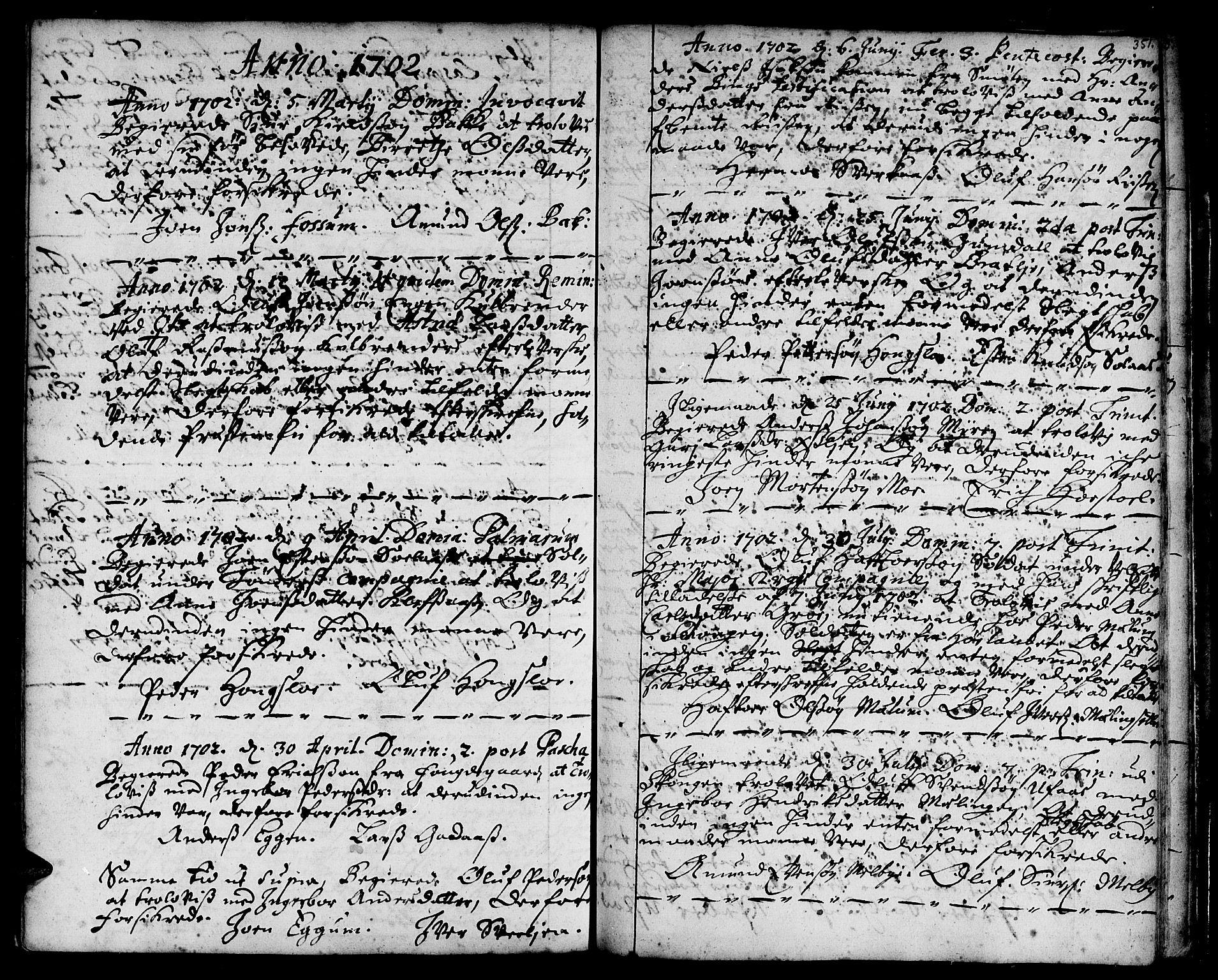 SAT, Ministerialprotokoller, klokkerbøker og fødselsregistre - Sør-Trøndelag, 668/L0801: Ministerialbok nr. 668A01, 1695-1716, s. 350-351