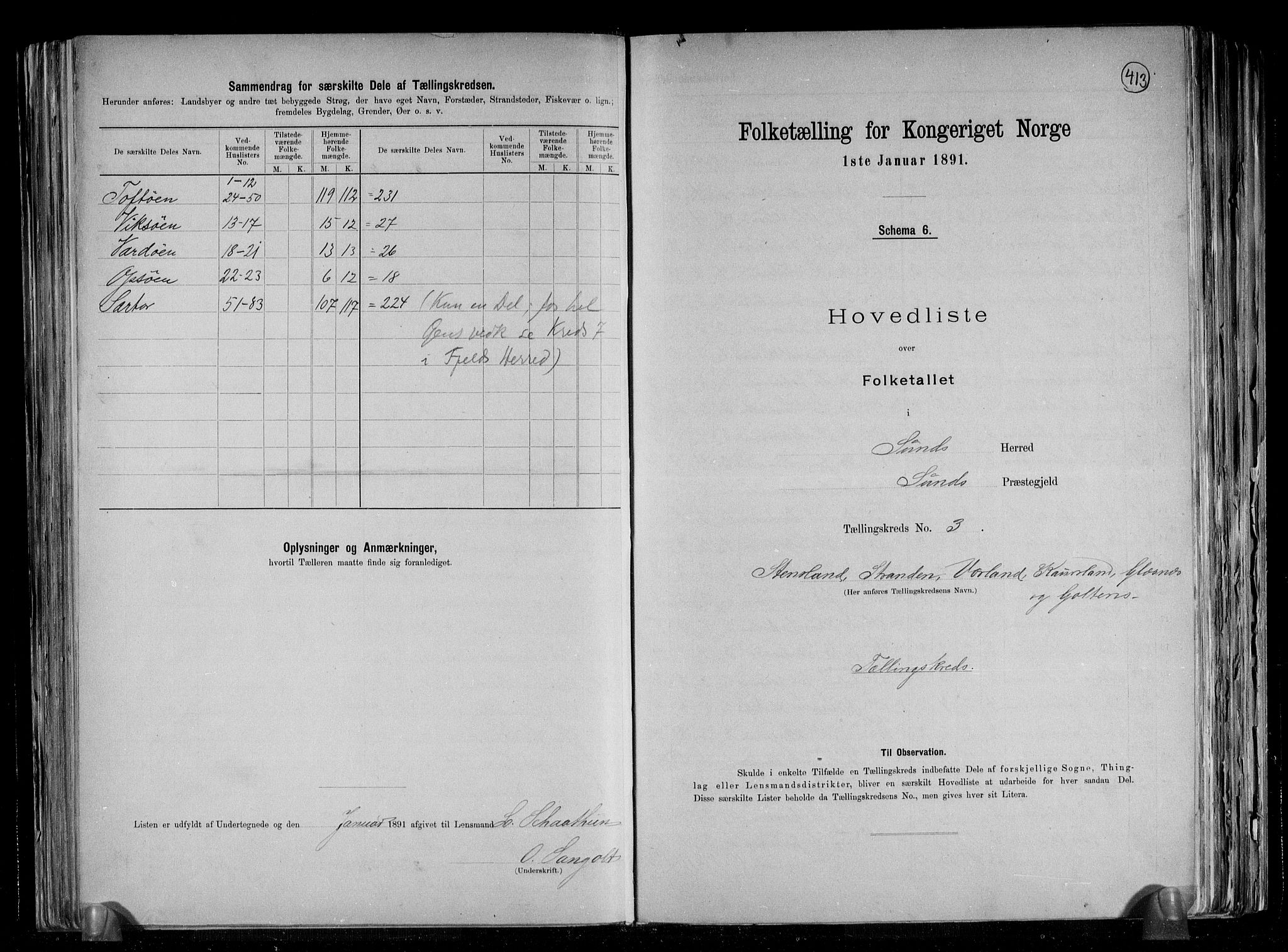 RA, Folketelling 1891 for 1245 Sund herred, 1891, s. 9