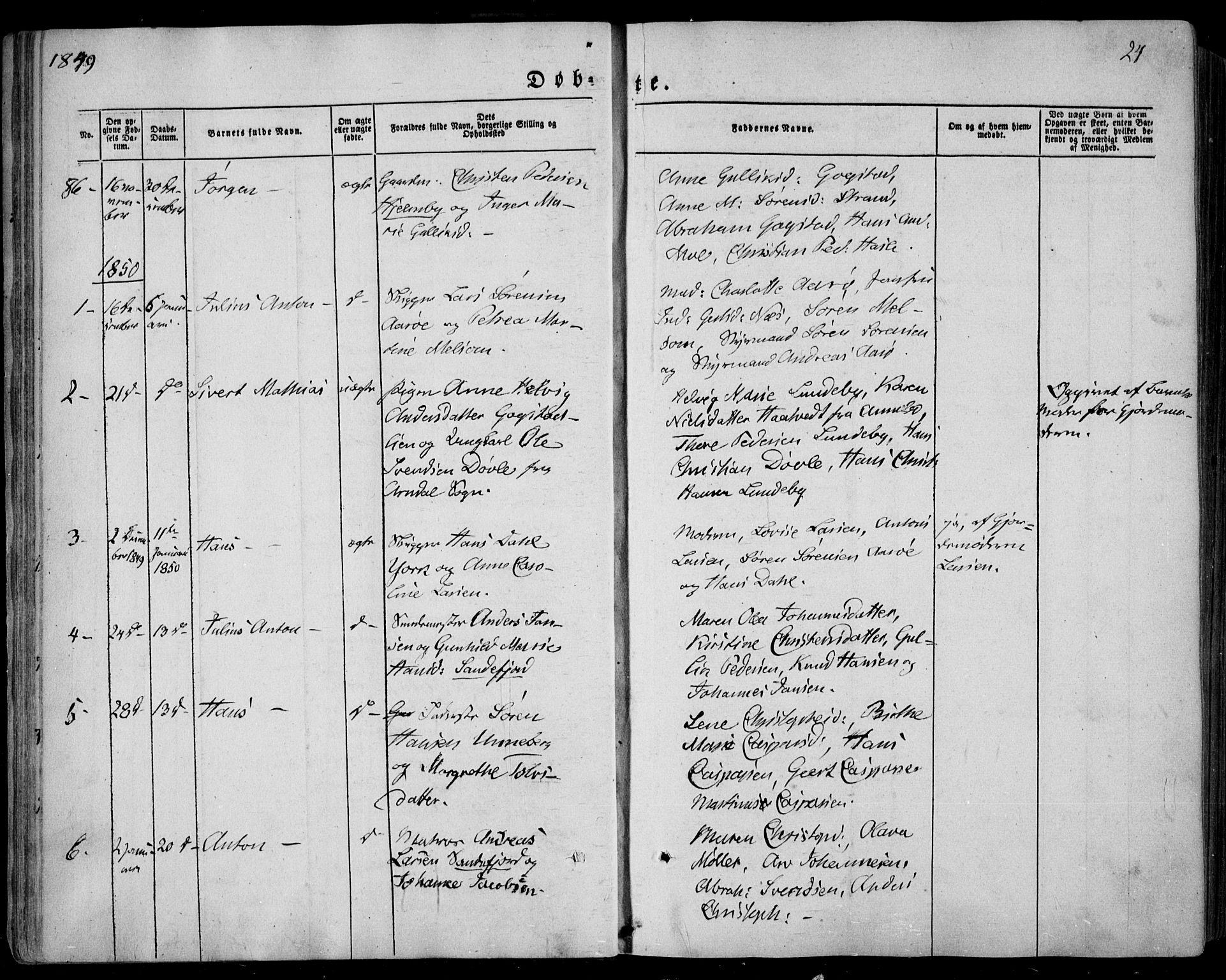 SAKO, Sandar kirkebøker, F/Fa/L0006: Ministerialbok nr. 6, 1847-1860, s. 24
