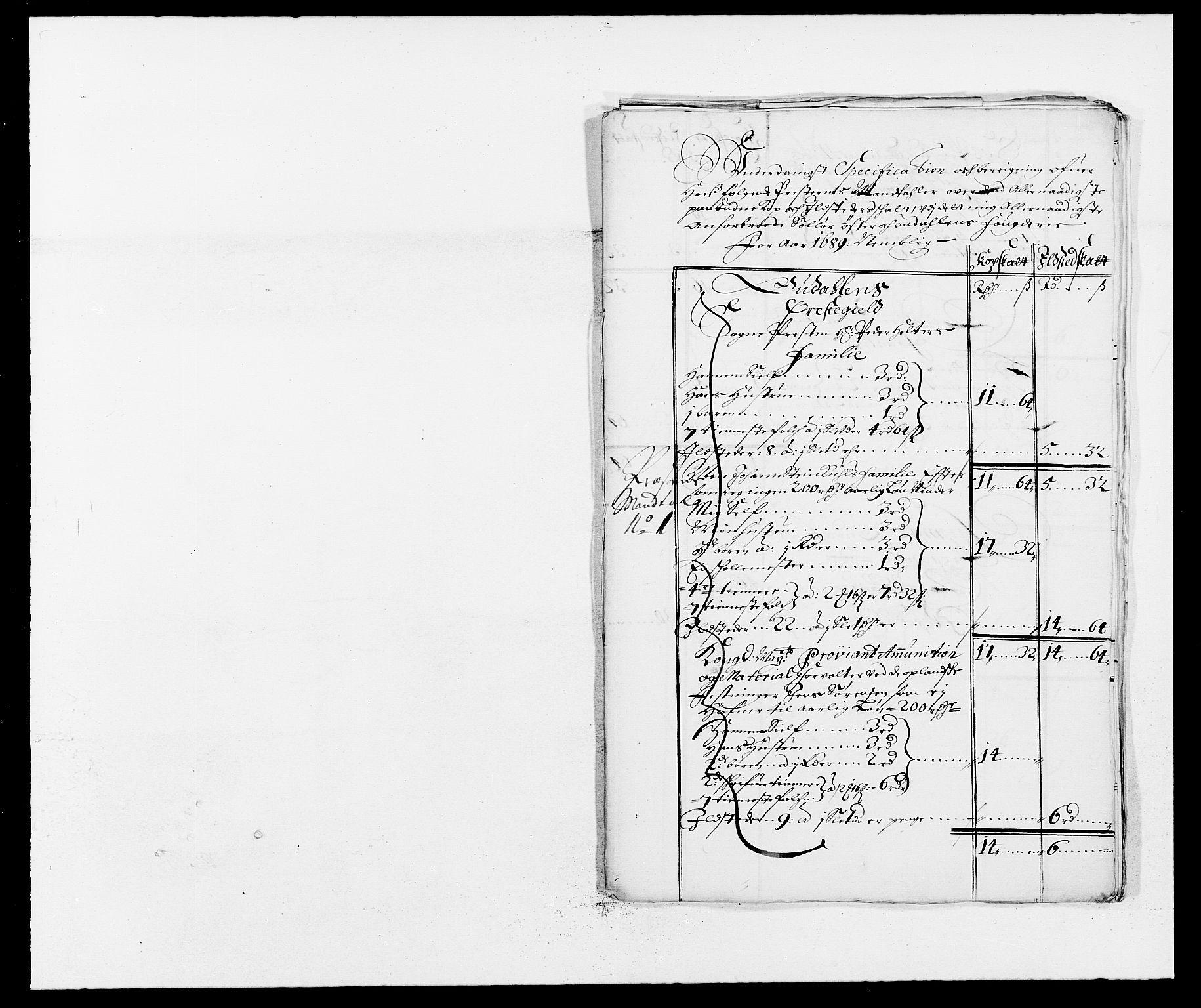 RA, Rentekammeret inntil 1814, Reviderte regnskaper, Fogderegnskap, R13/L0827: Fogderegnskap Solør, Odal og Østerdal, 1689, s. 330