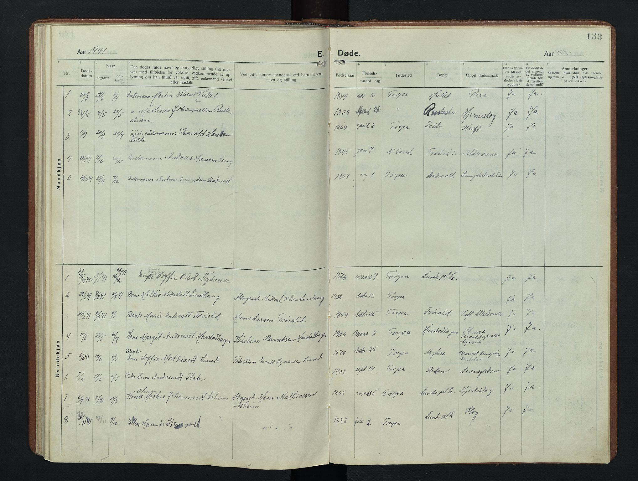 SAH, Nordre Land prestekontor, Klokkerbok nr. 9, 1921-1956, s. 133