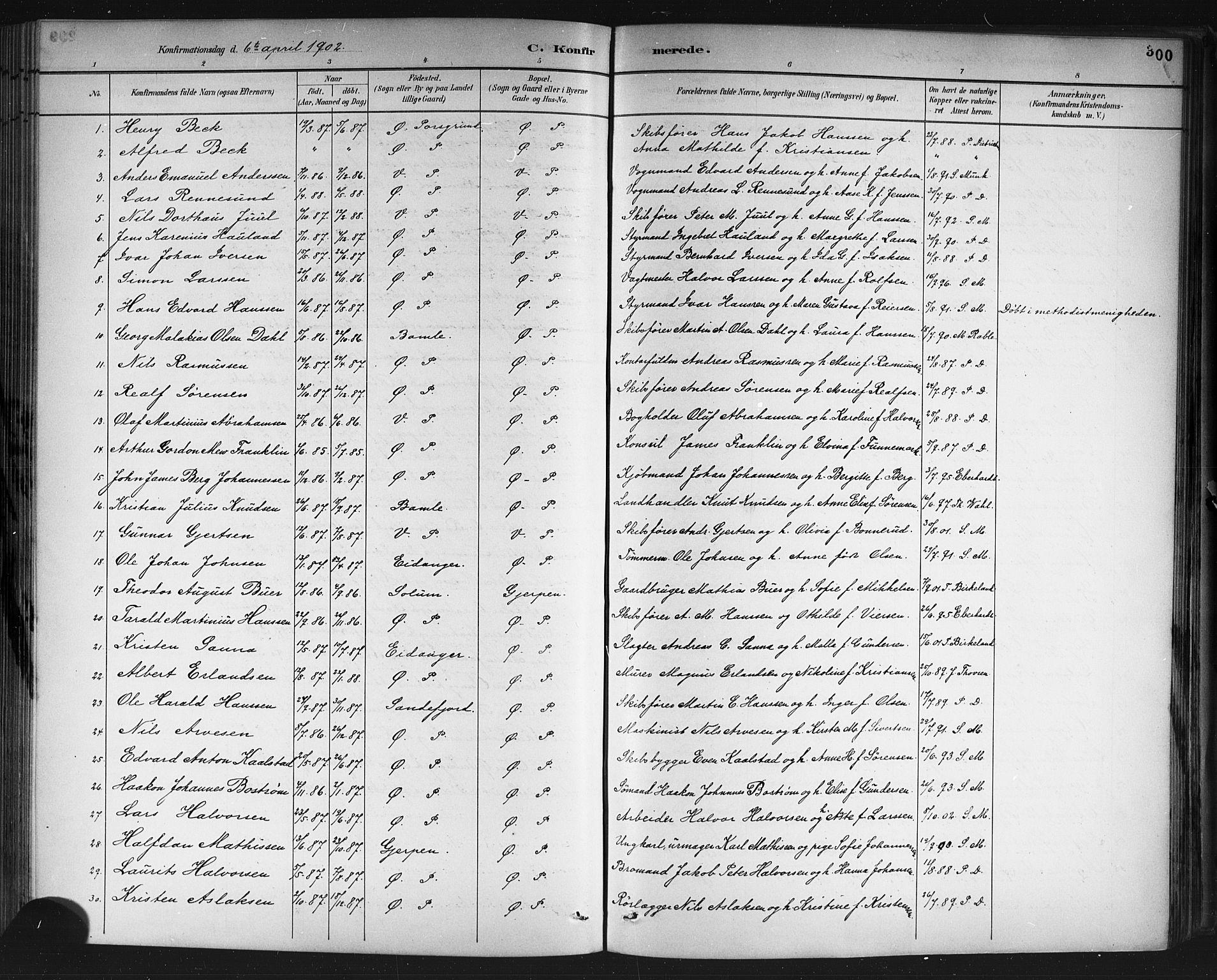 SAKO, Porsgrunn kirkebøker , G/Gb/L0005: Klokkerbok nr. II 5, 1883-1915, s. 300