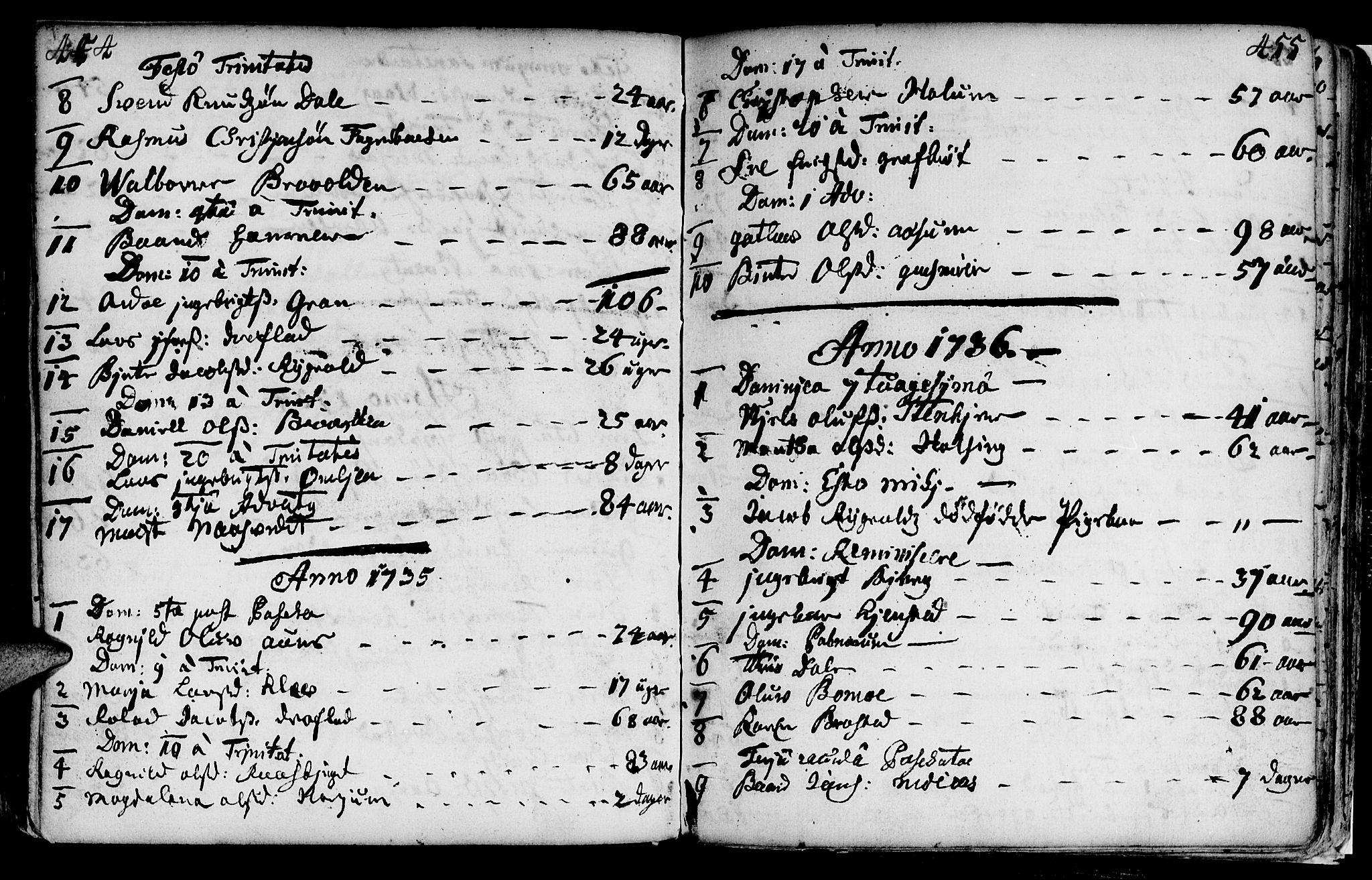 SAT, Ministerialprotokoller, klokkerbøker og fødselsregistre - Nord-Trøndelag, 749/L0467: Ministerialbok nr. 749A01, 1733-1787, s. 454-455