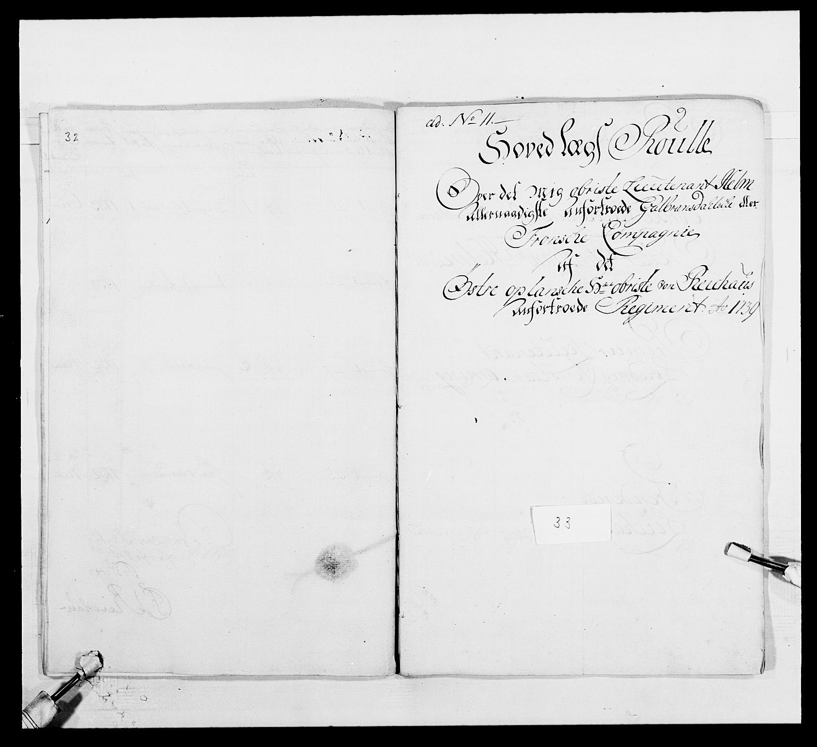 RA, Kommanderende general (KG I) med Det norske krigsdirektorium, E/Ea/L0502: 1. Opplandske regiment, 1720-1743, s. 434