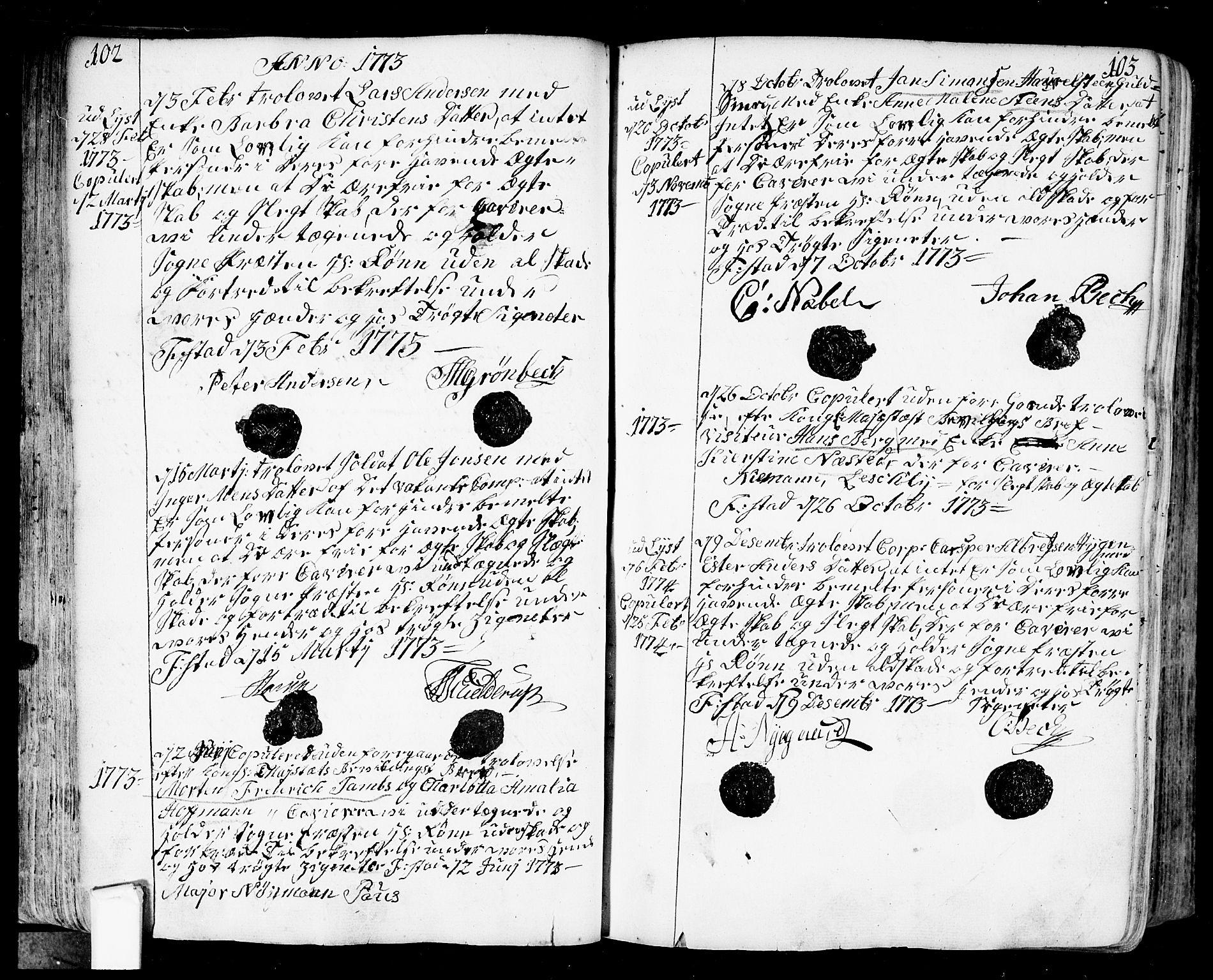 SAO, Fredrikstad prestekontor Kirkebøker, F/Fa/L0002: Ministerialbok nr. 2, 1750-1804, s. 102-103