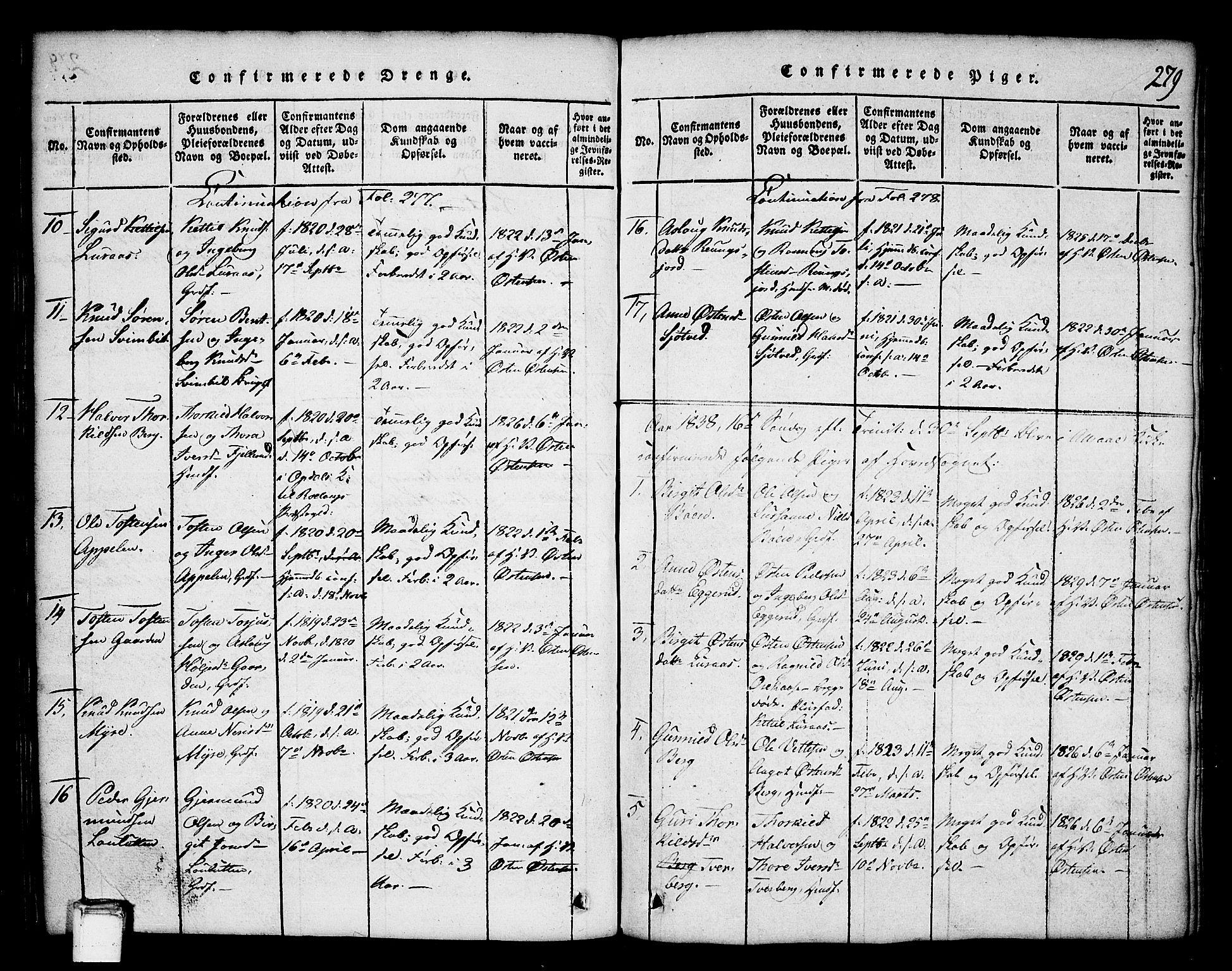 SAKO, Tinn kirkebøker, G/Ga/L0001: Klokkerbok nr. I 1, 1815-1850, s. 279