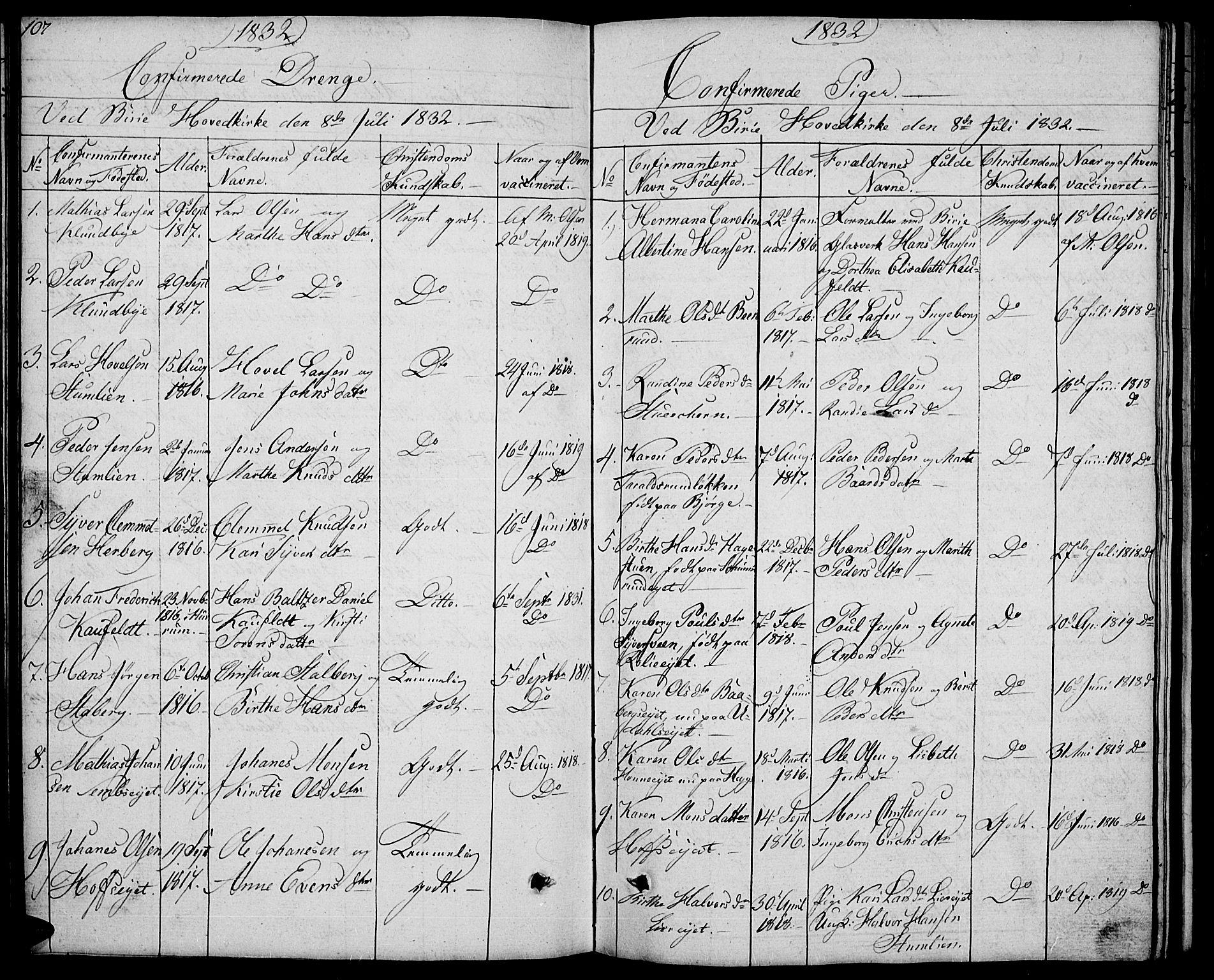 SAH, Biri prestekontor, Klokkerbok nr. 2, 1828-1842, s. 107