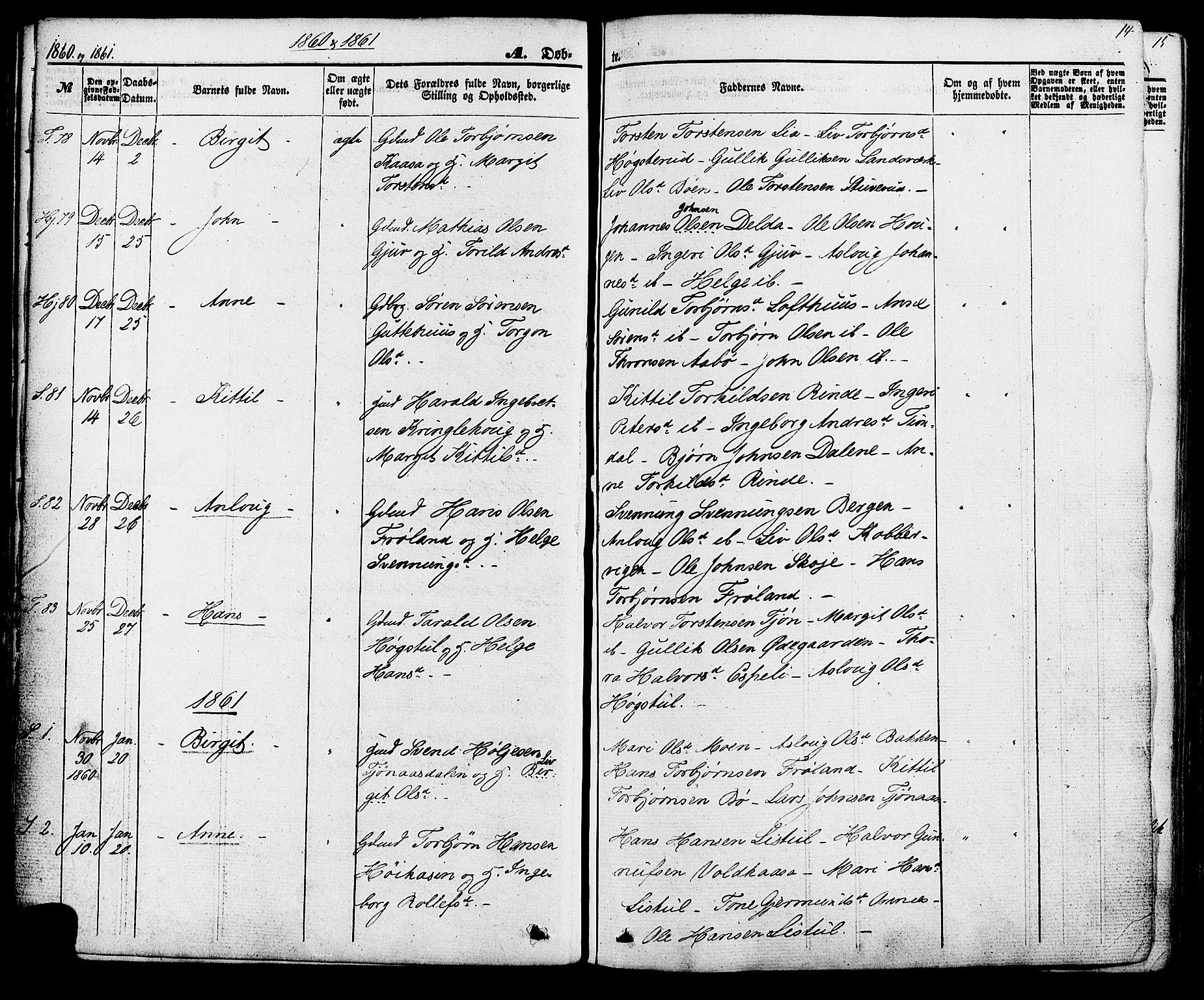 SAKO, Hjartdal kirkebøker, F/Fa/L0009: Ministerialbok nr. I 9, 1860-1879, s. 14