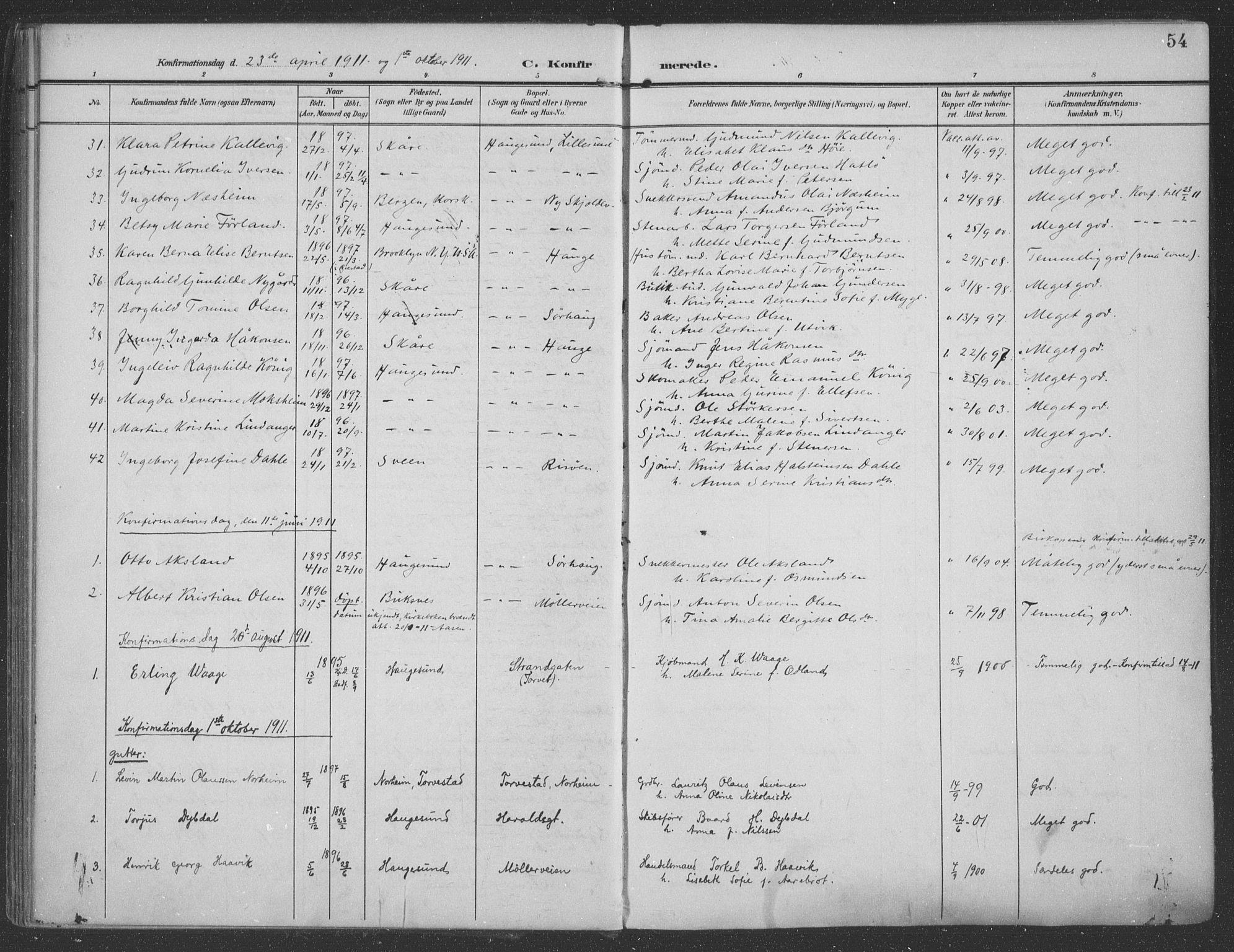 SAST, Haugesund sokneprestkontor, H/Ha/Haa/L0007: Ministerialbok nr. A 7, 1904-1916, s. 54
