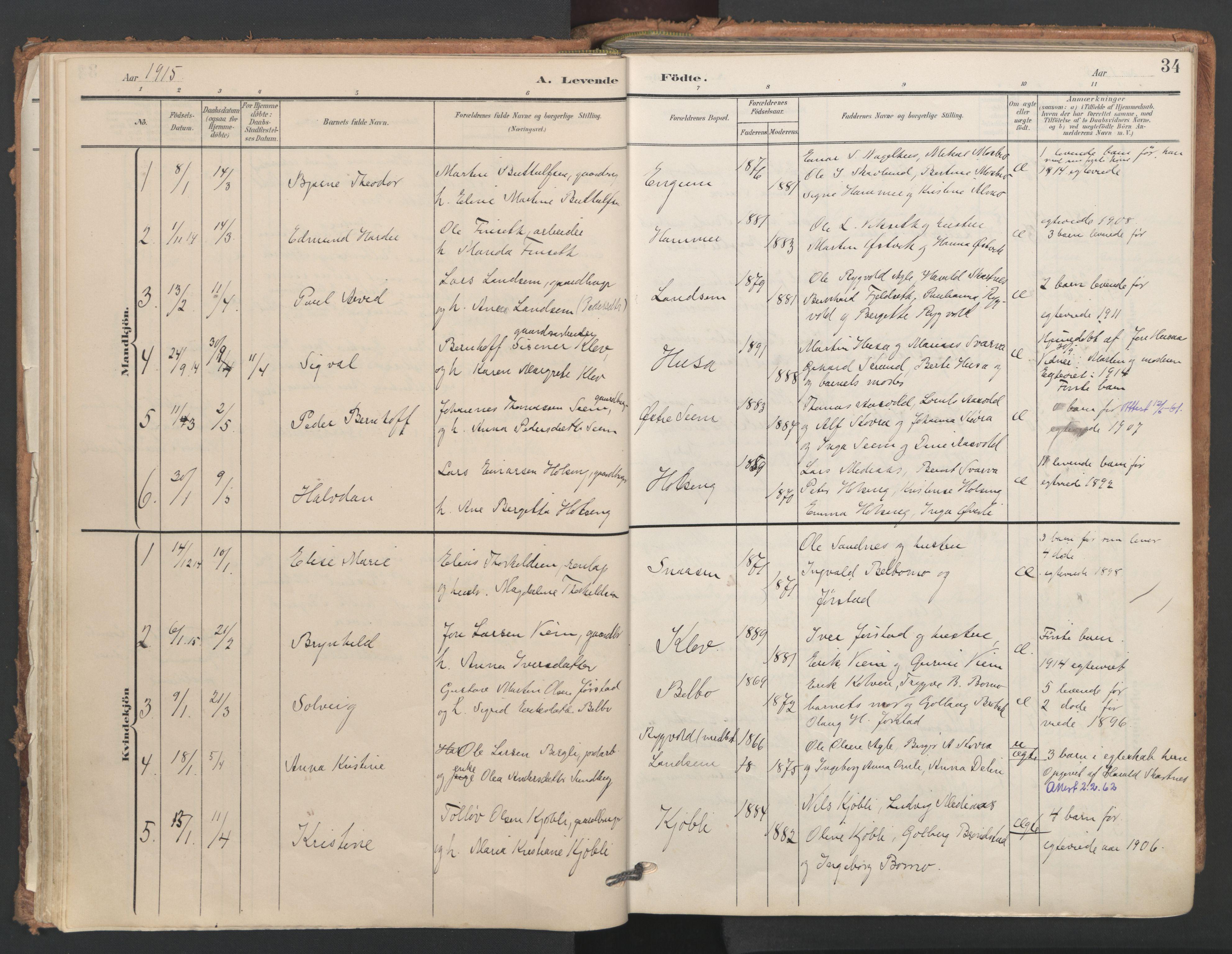 SAT, Ministerialprotokoller, klokkerbøker og fødselsregistre - Nord-Trøndelag, 749/L0477: Ministerialbok nr. 749A11, 1902-1927, s. 34