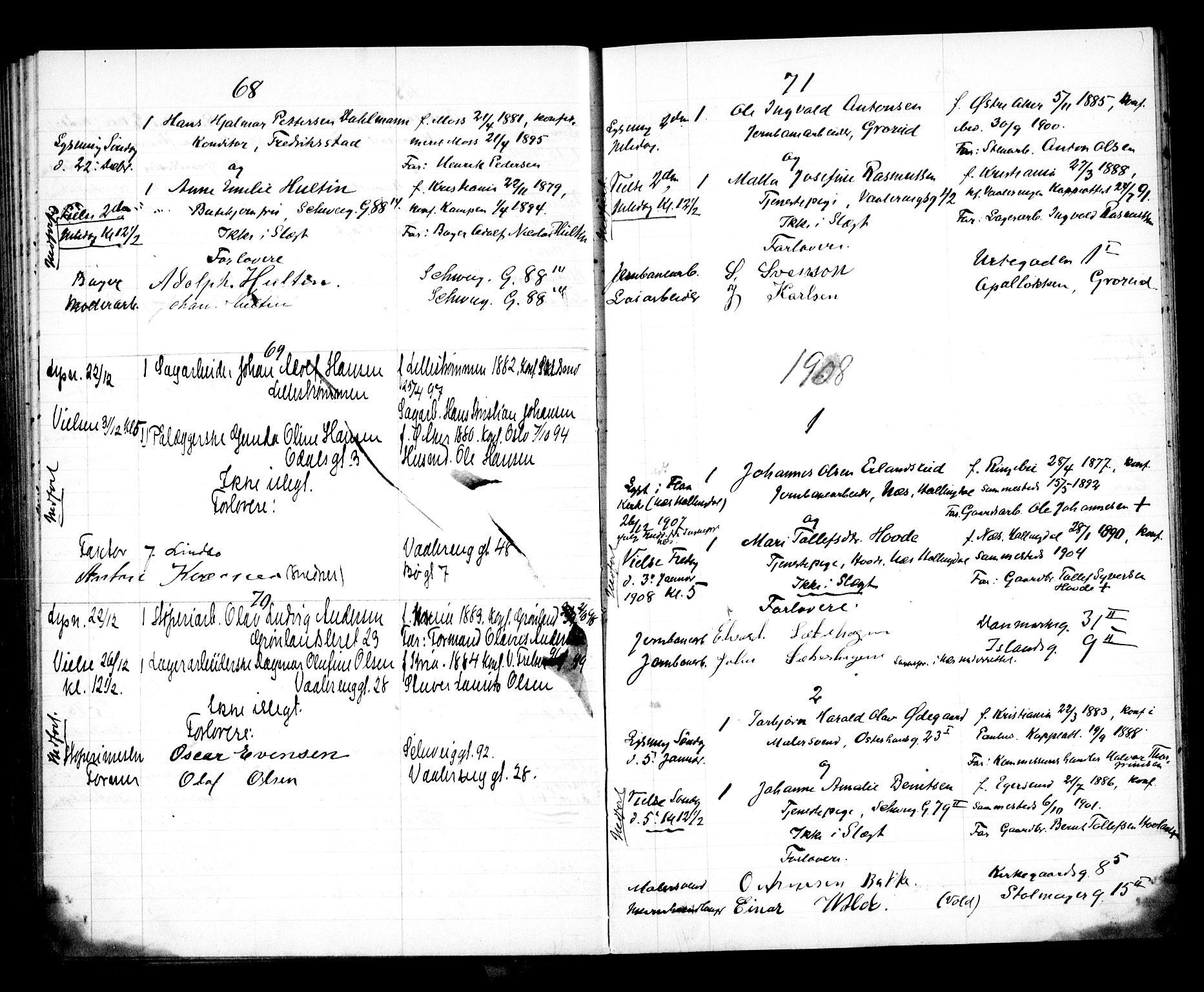 SAO, Vålerengen prestekontor Kirkebøker, H/Ha/L0001: Lysningsprotokoll nr. 1, 1899-1910