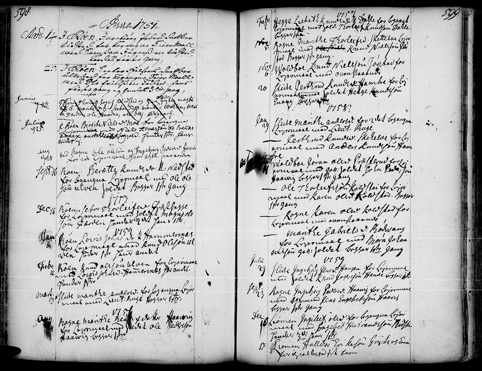 SAH, Slidre prestekontor, Ministerialbok nr. 1, 1724-1814, s. 598-599