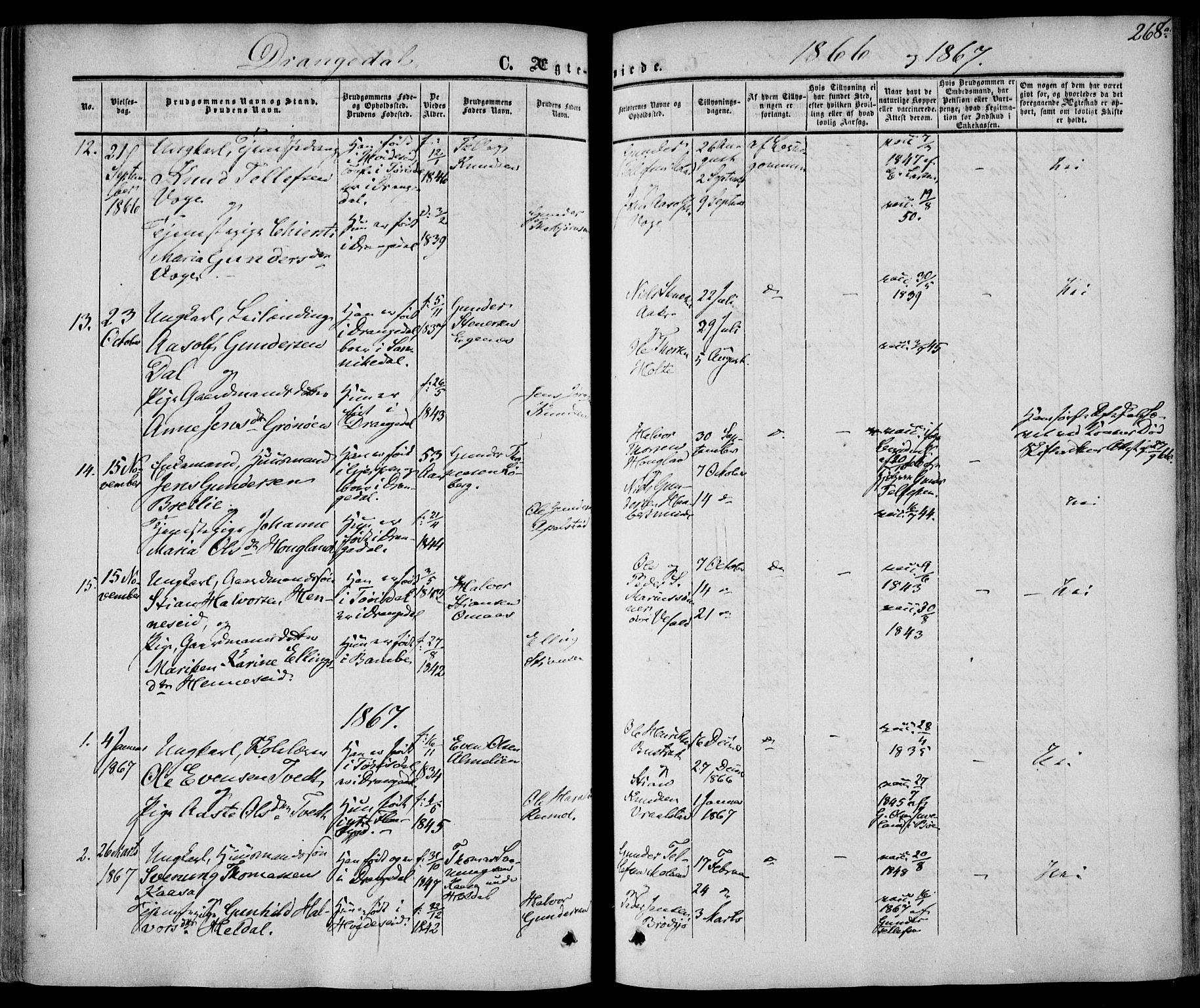 SAKO, Drangedal kirkebøker, F/Fa/L0008: Ministerialbok nr. 8, 1857-1871, s. 268
