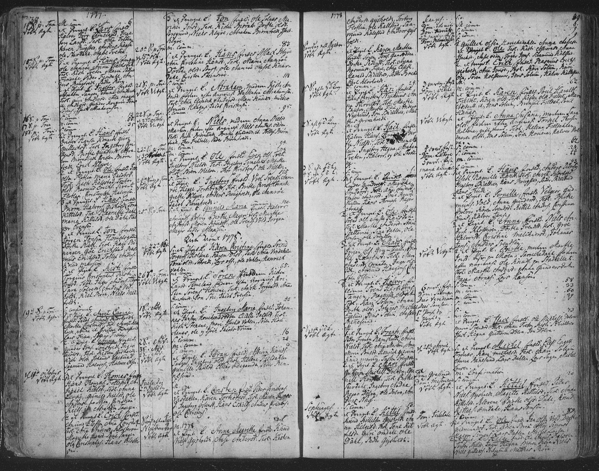 SAKO, Solum kirkebøker, F/Fa/L0003: Ministerialbok nr. I 3, 1761-1814, s. 38-39