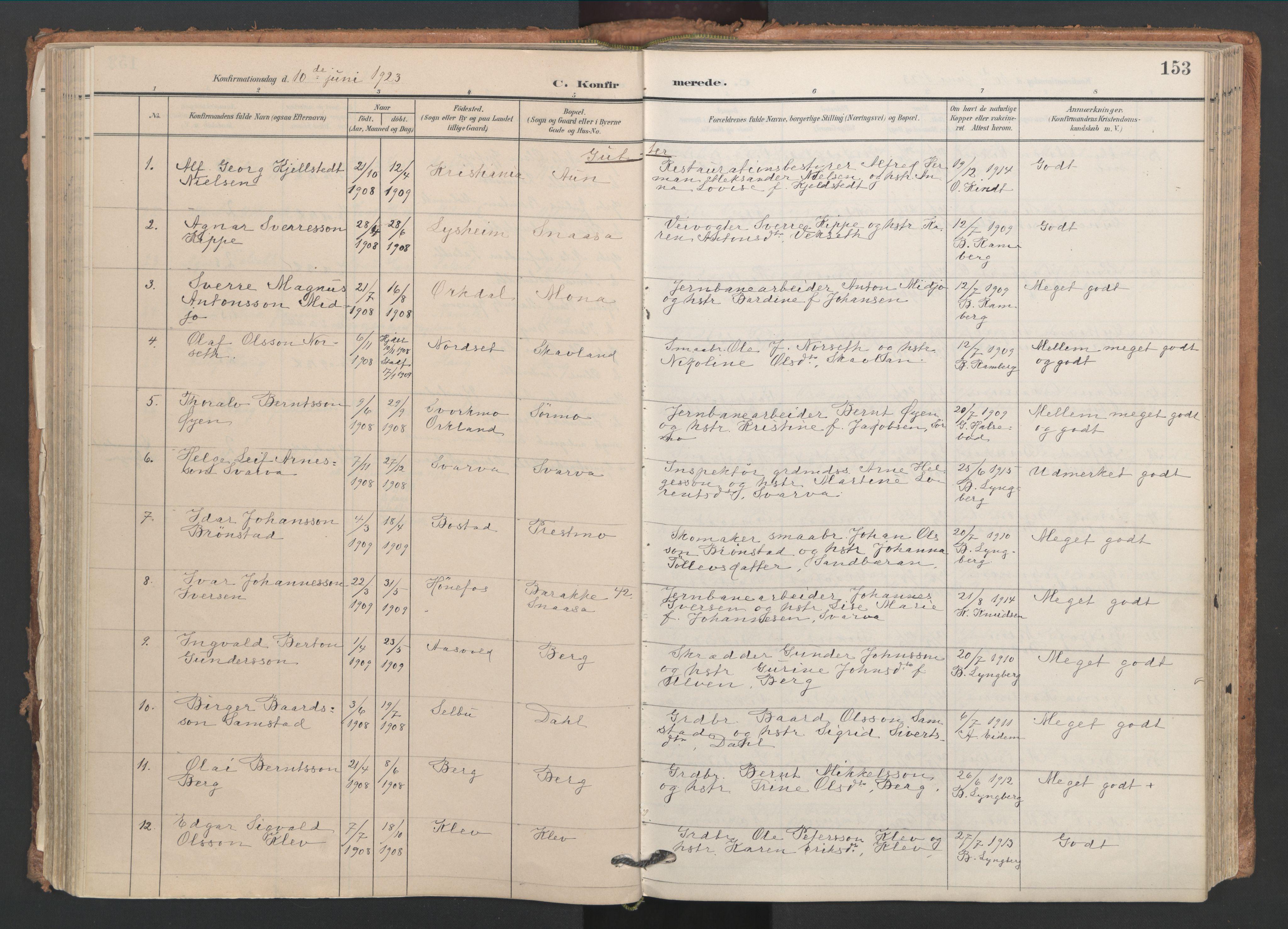 SAT, Ministerialprotokoller, klokkerbøker og fødselsregistre - Nord-Trøndelag, 749/L0477: Ministerialbok nr. 749A11, 1902-1927, s. 153