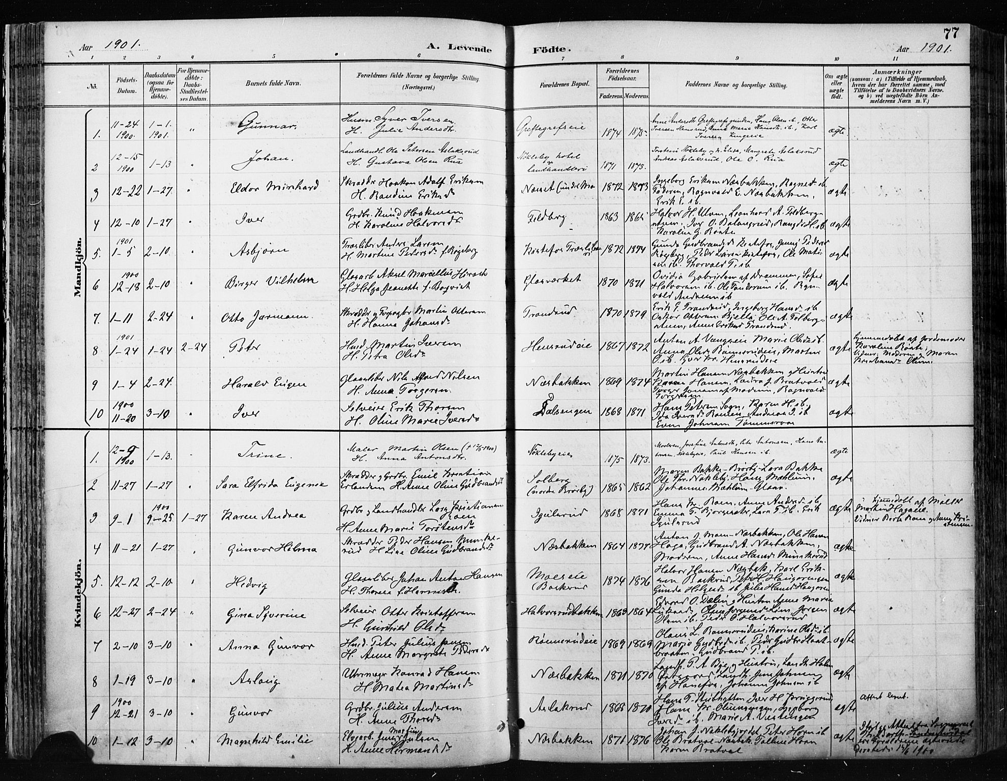 SAH, Jevnaker prestekontor, Ministerialbok nr. 9, 1891-1901, s. 77