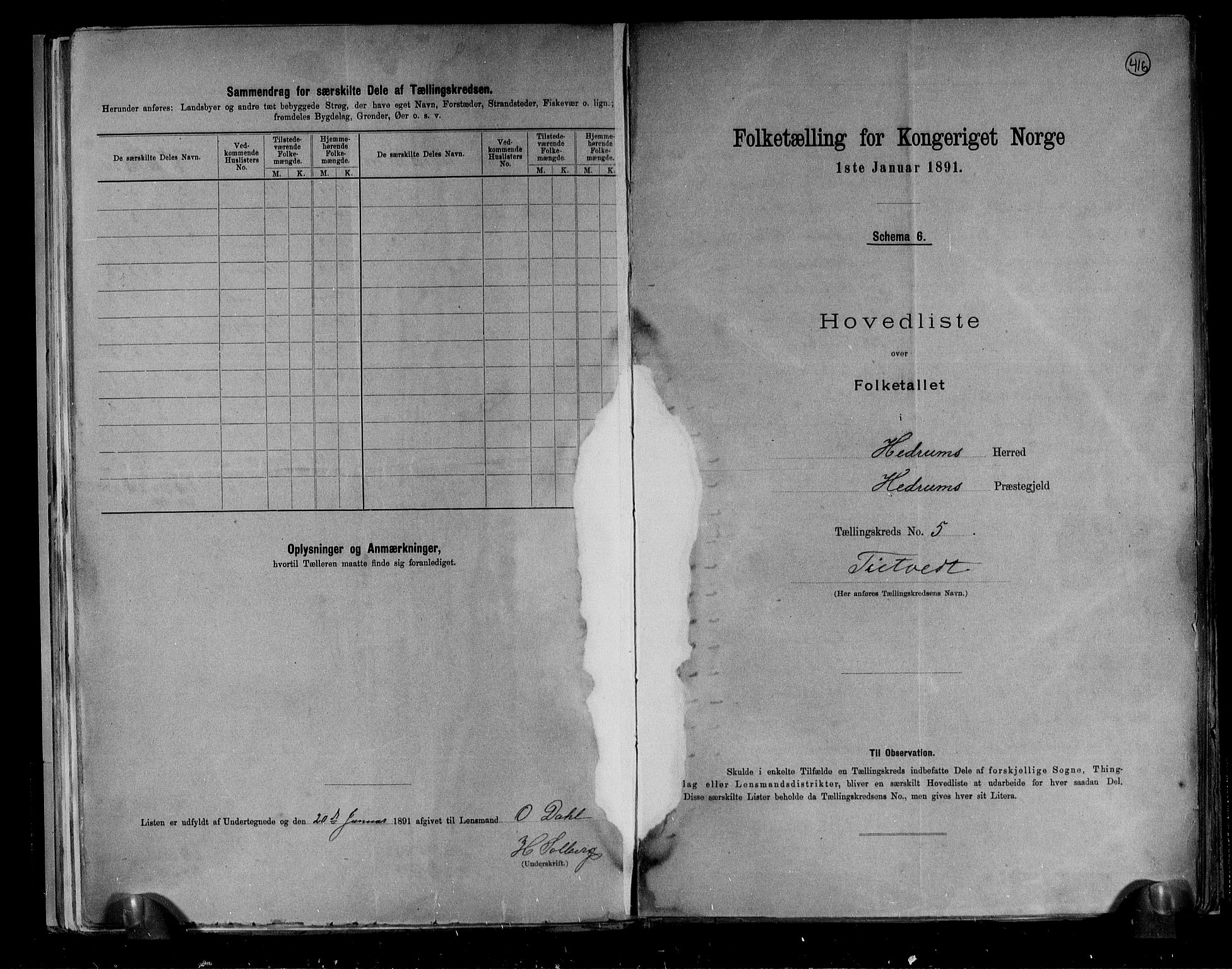 RA, Folketelling 1891 for 0727 Hedrum herred, 1891, s. 12