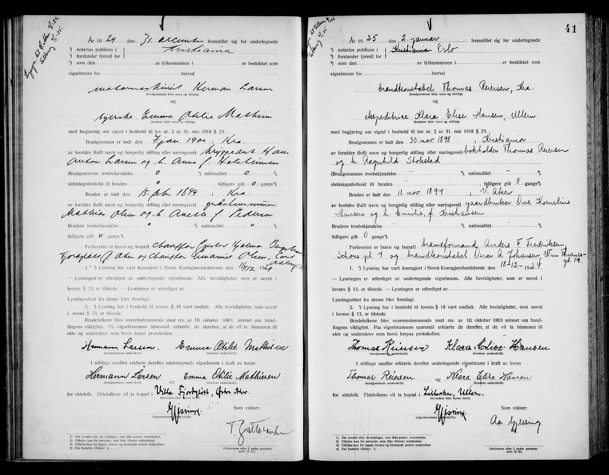 SAO, Oslo byfogd avd. I, L/Lb/Lbb/L0017: Notarialprotokoll, rekke II: Vigsler, 1924-1926, s. 40b-41a