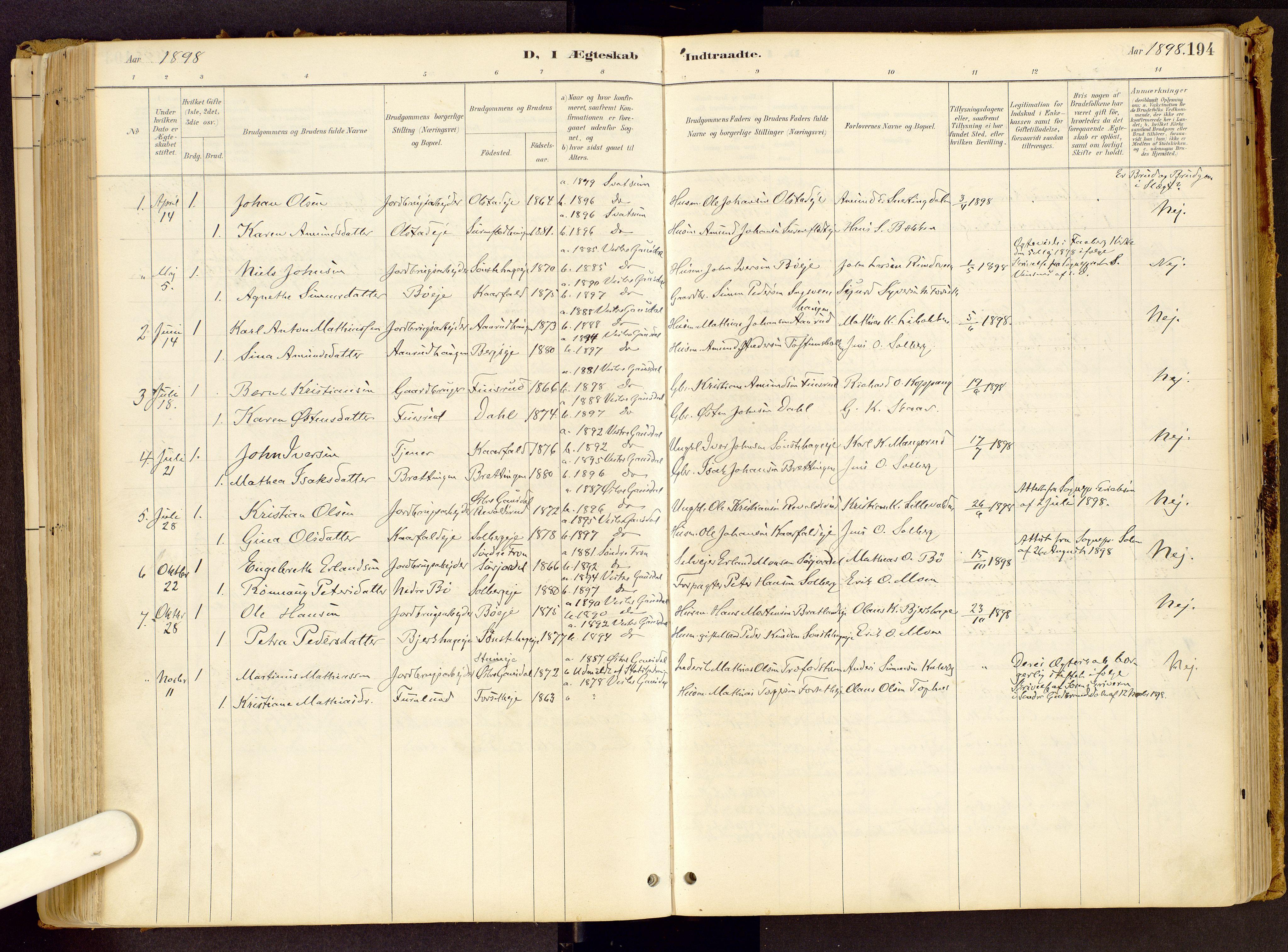 SAH, Vestre Gausdal prestekontor, Ministerialbok nr. 1, 1887-1914, s. 194