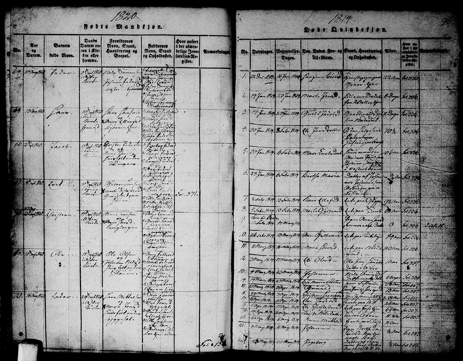 SAO, Asker prestekontor Kirkebøker, G/Ga/L0001: Klokkerbok nr. I 1, 1814-1830, s. 96