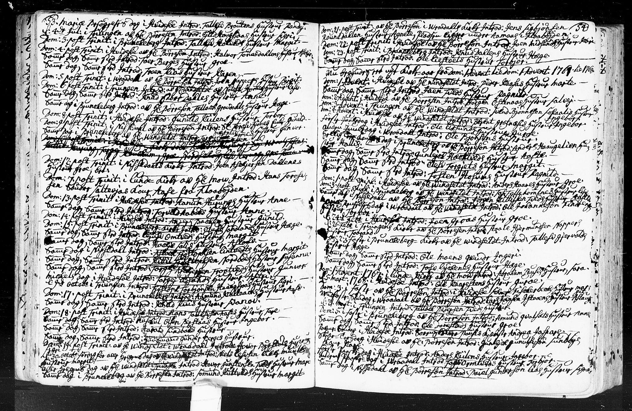SAKO, Kviteseid kirkebøker, F/Fa/L0001: Ministerialbok nr. I 1, 1754-1773, s. 53-54