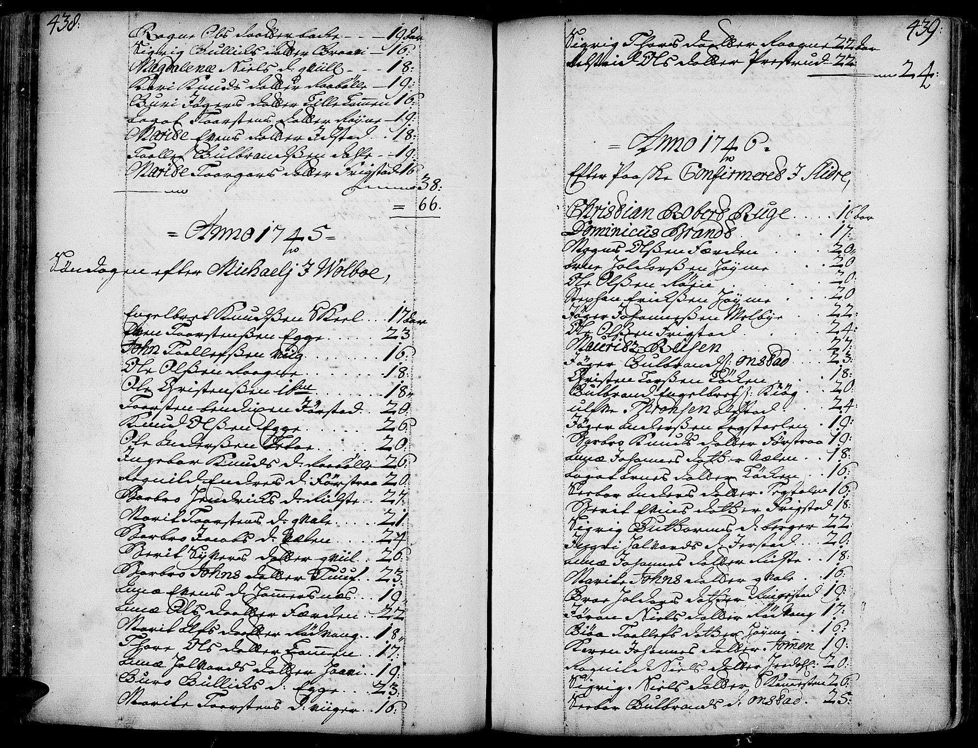 SAH, Slidre prestekontor, Ministerialbok nr. 1, 1724-1814, s. 438-439