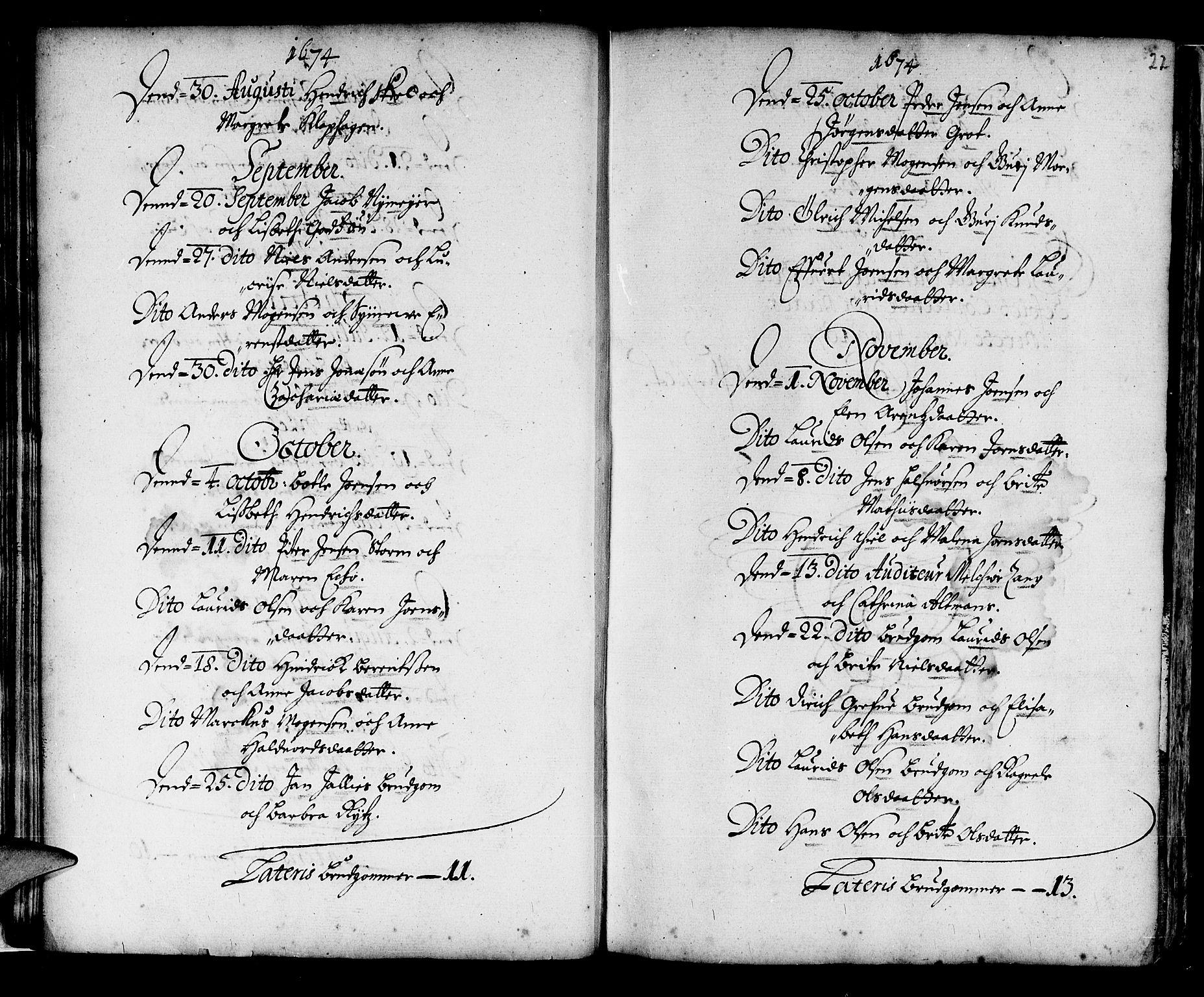 SAB, Korskirken Sokneprestembete, H/Haa/L0001: Ministerialbok nr. A 1, 1674-1688, s. 22