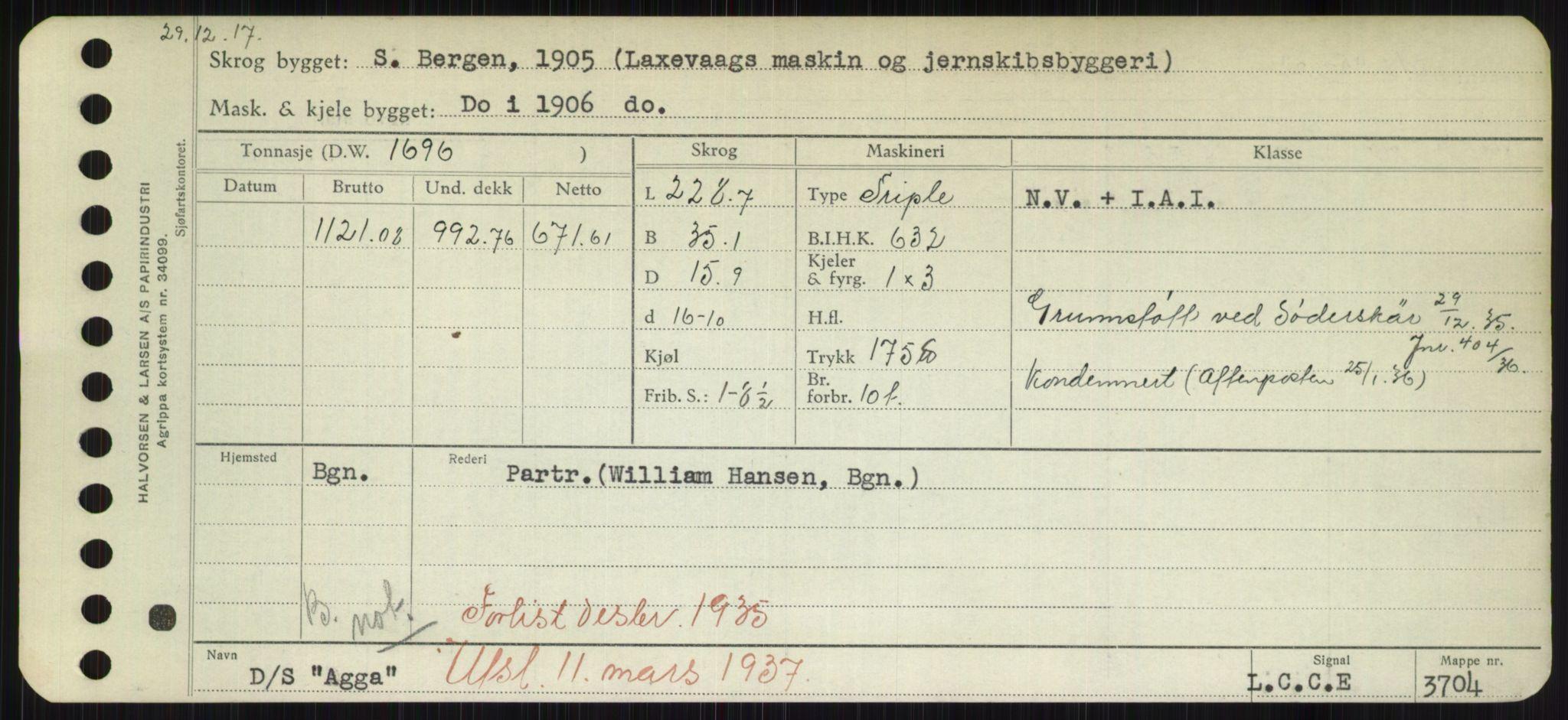 RA, Sjøfartsdirektoratet med forløpere, Skipsmålingen, H/Hd/L0001: Fartøy, A-Anv, s. 125