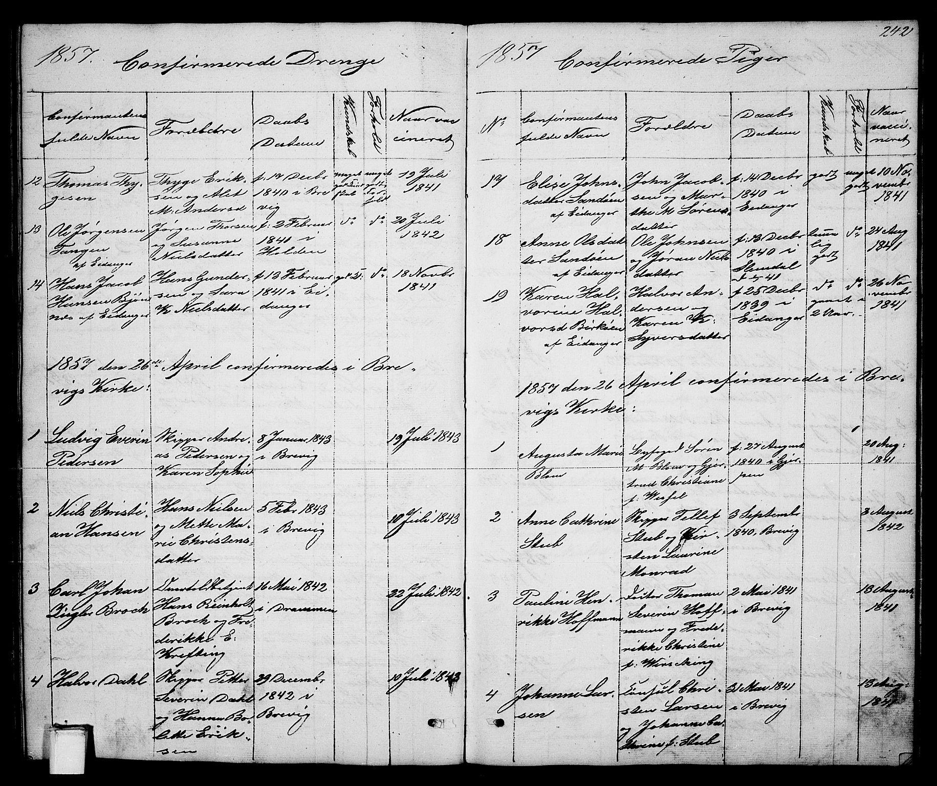 SAKO, Brevik kirkebøker, G/Ga/L0002: Klokkerbok nr. 2, 1846-1865, s. 242
