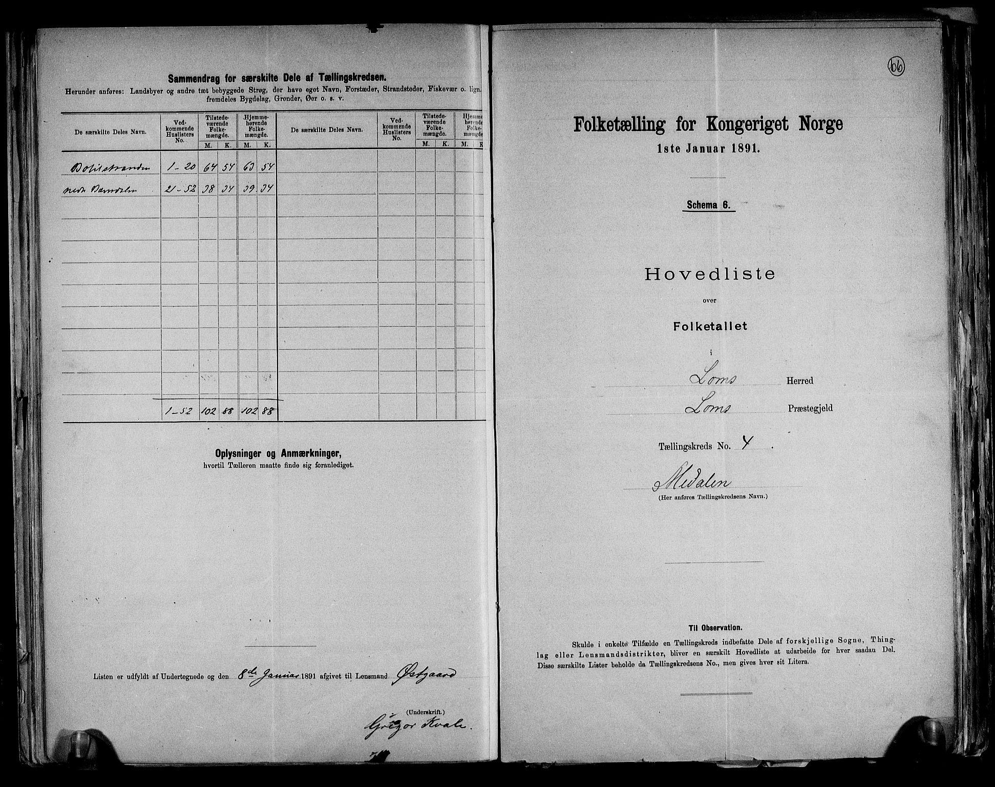 RA, Folketelling 1891 for 0514 Lom herred, 1891, s. 10