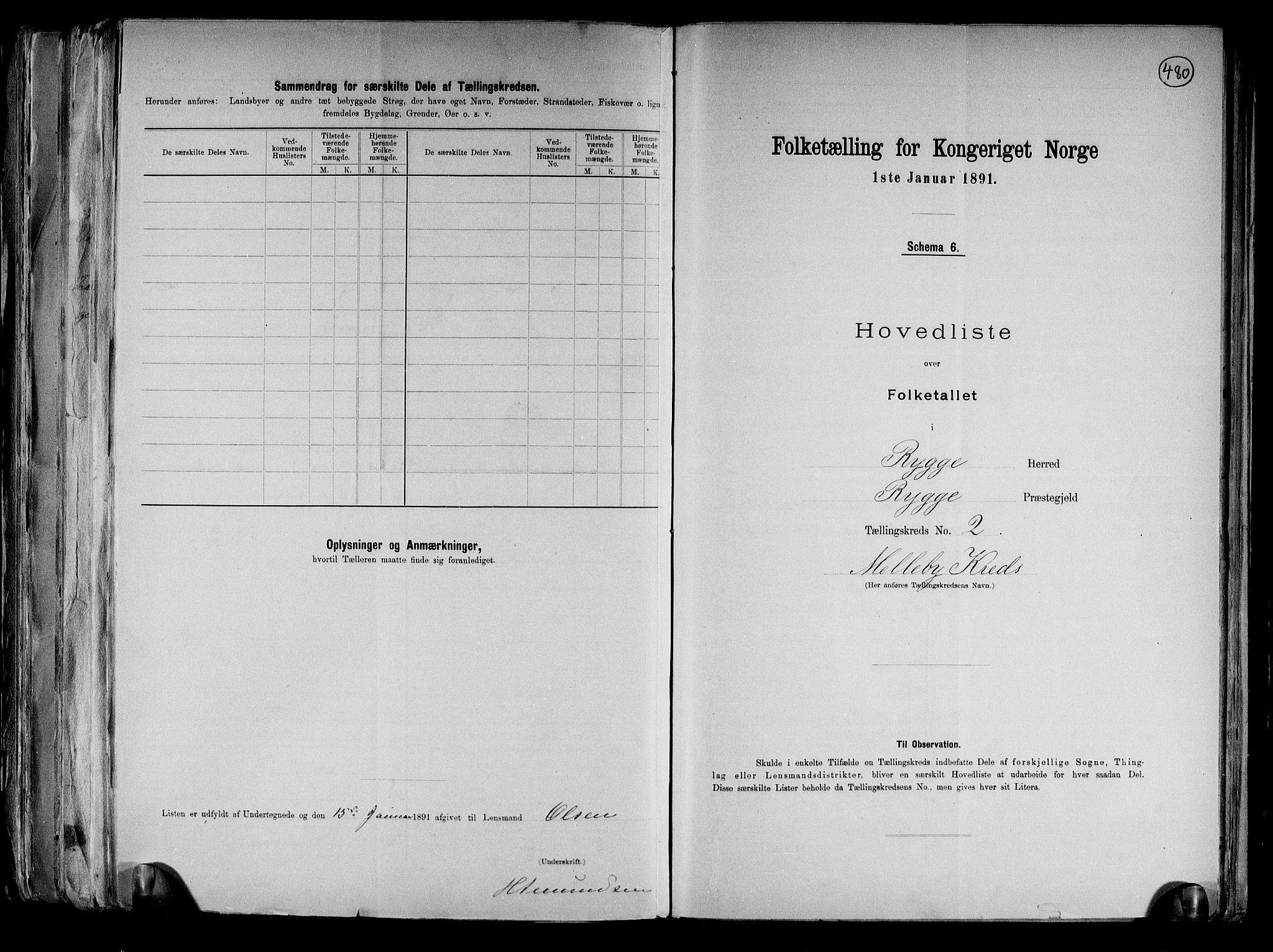 RA, Folketelling 1891 for 0136 Rygge herred, 1891, s. 8