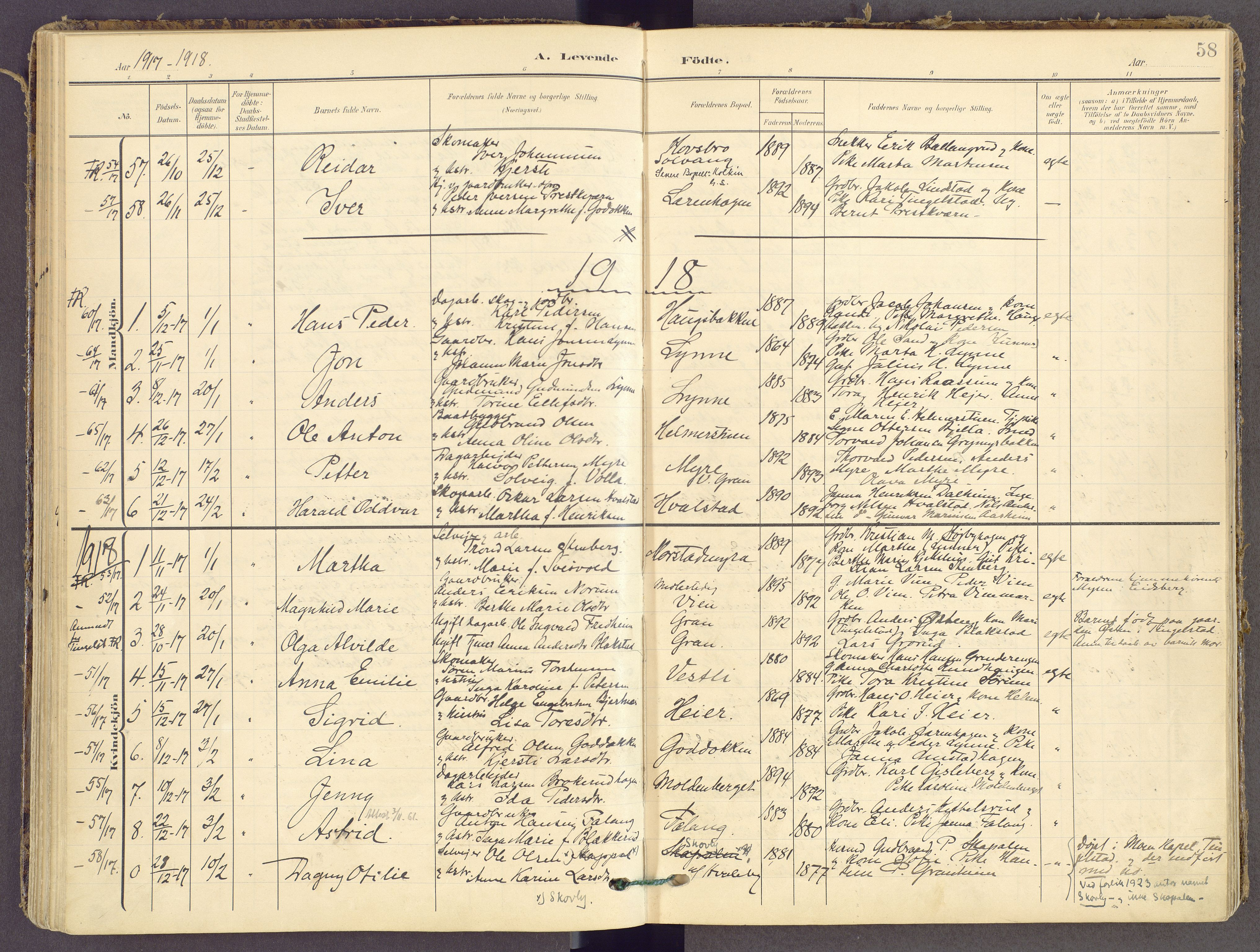 SAH, Gran prestekontor, Ministerialbok nr. 21, 1908-1932, s. 58