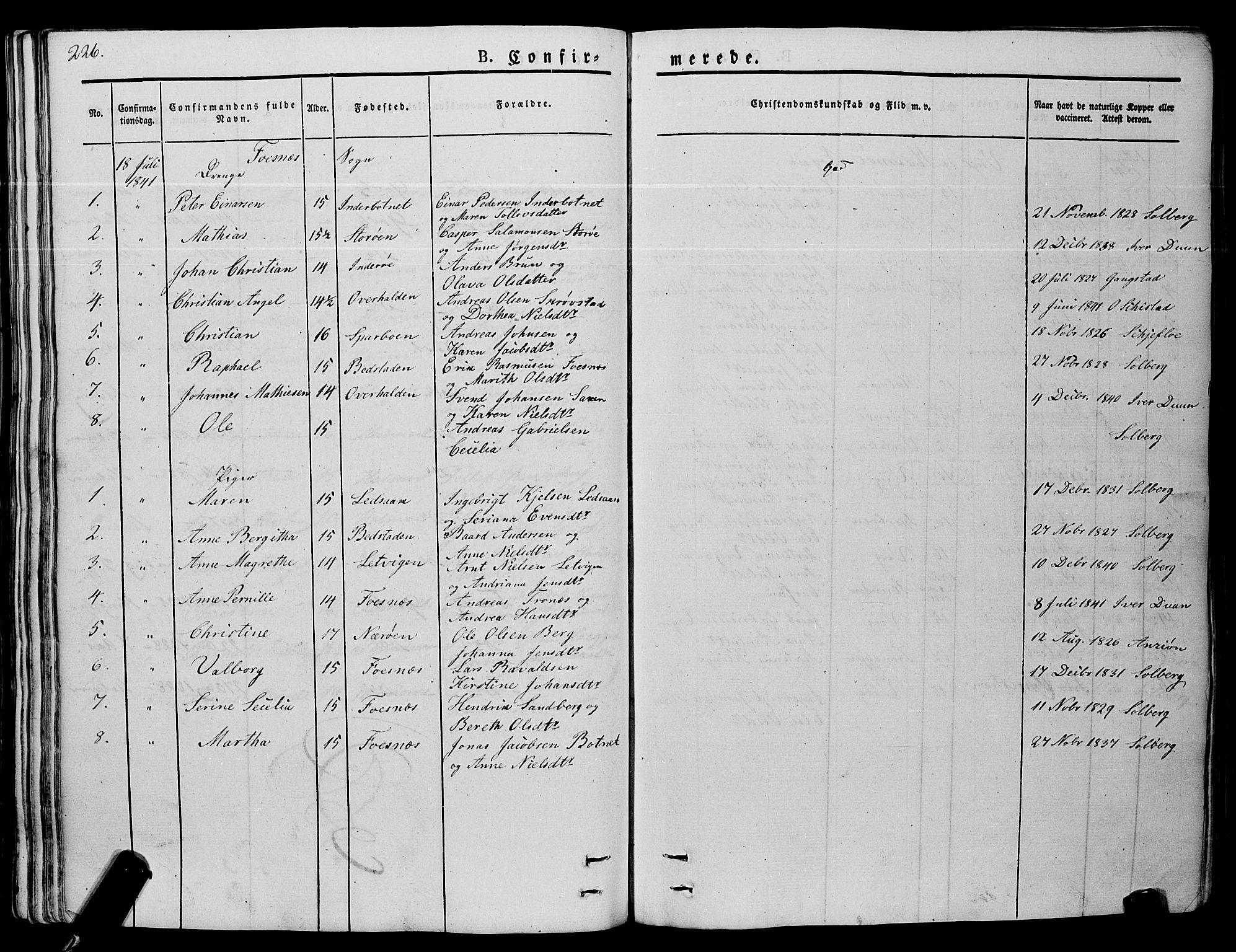 SAT, Ministerialprotokoller, klokkerbøker og fødselsregistre - Nord-Trøndelag, 773/L0614: Ministerialbok nr. 773A05, 1831-1856, s. 226