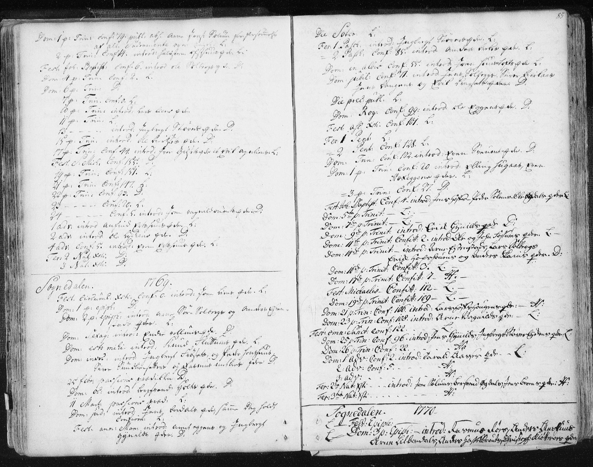 SAT, Ministerialprotokoller, klokkerbøker og fødselsregistre - Sør-Trøndelag, 687/L0991: Ministerialbok nr. 687A02, 1747-1790, s. 85