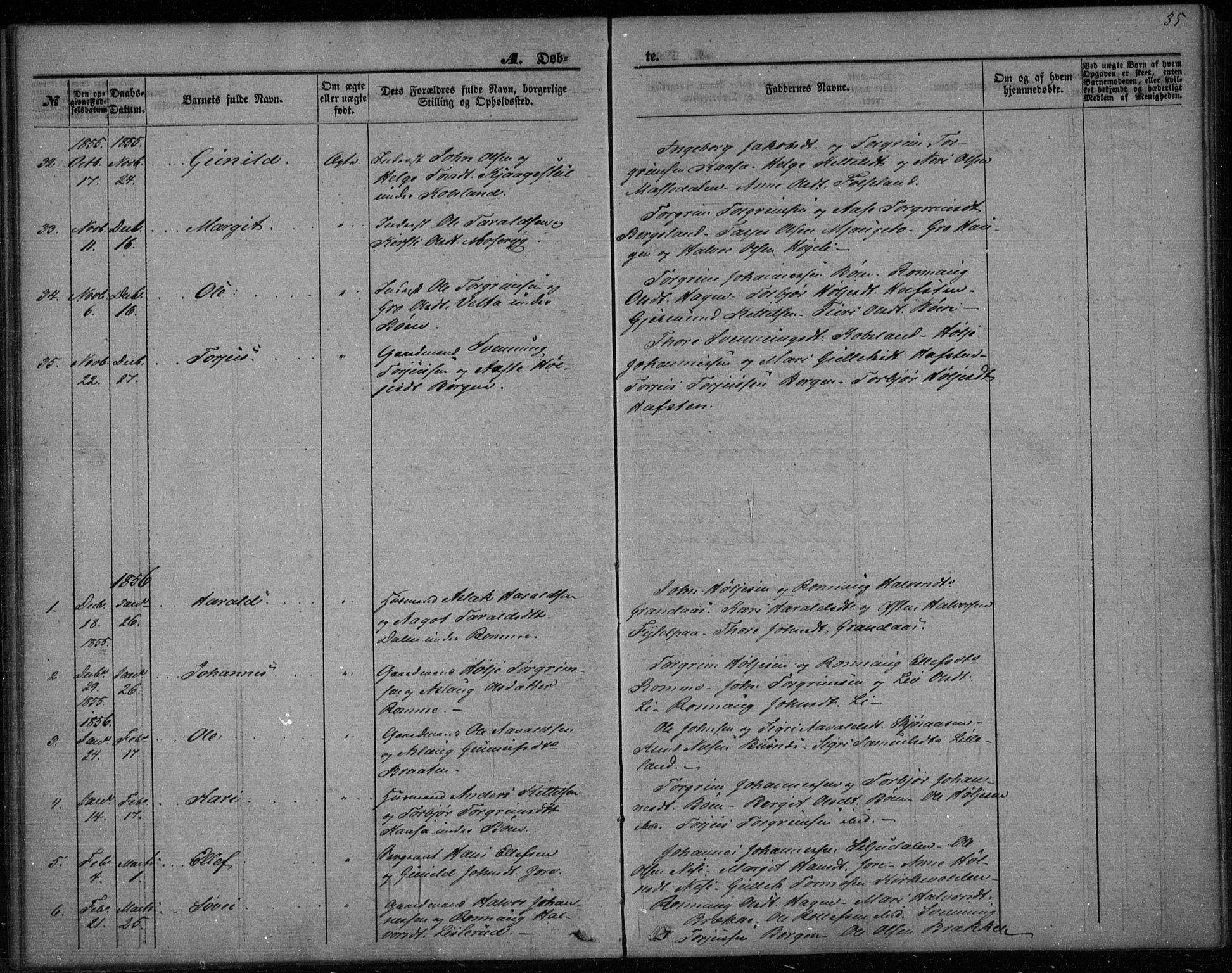 SAKO, Gransherad kirkebøker, F/Fa/L0002: Ministerialbok nr. I 2, 1844-1859, s. 35