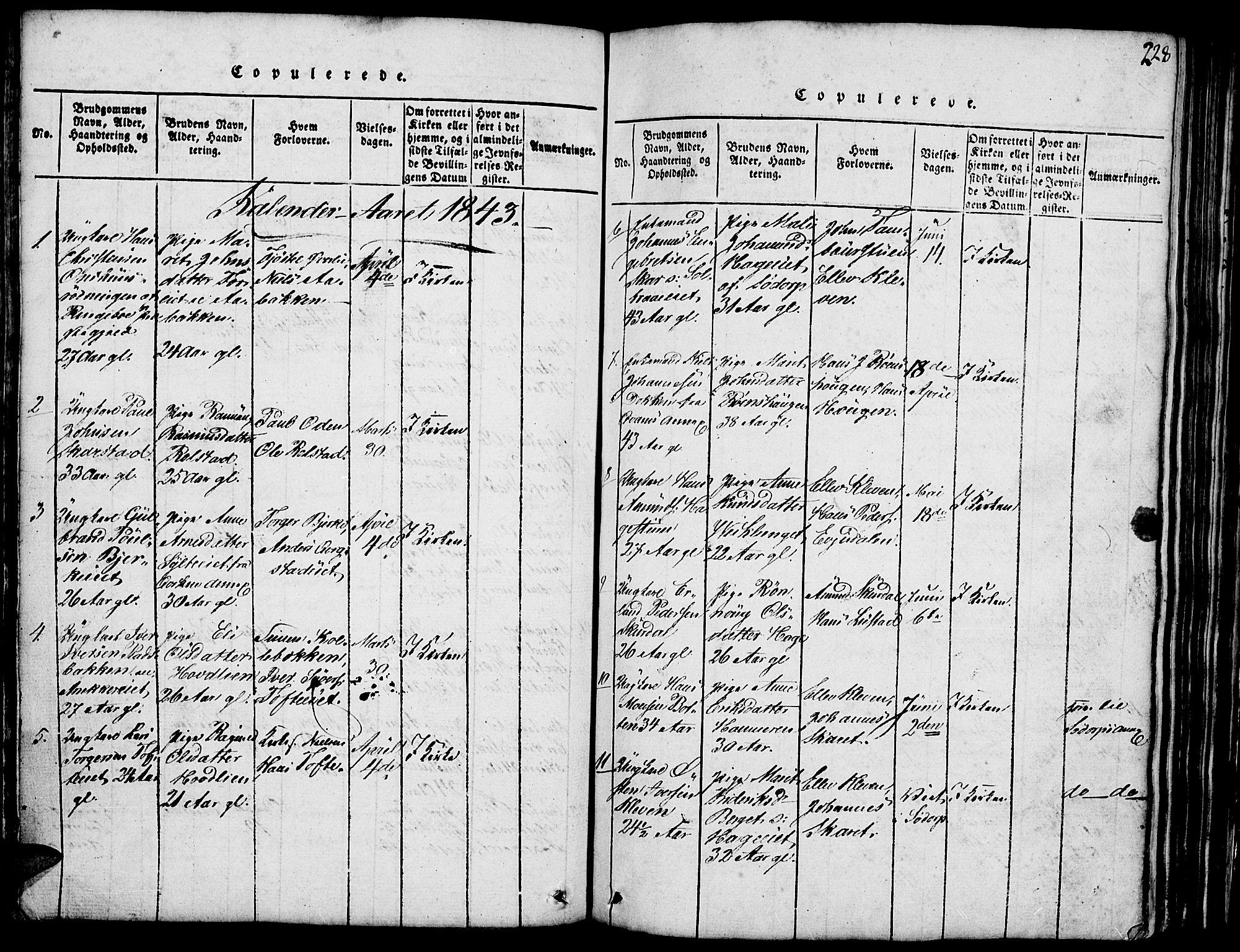 SAH, Fron prestekontor, H/Ha/Hab/L0001: Klokkerbok nr. 1, 1816-1843, s. 228