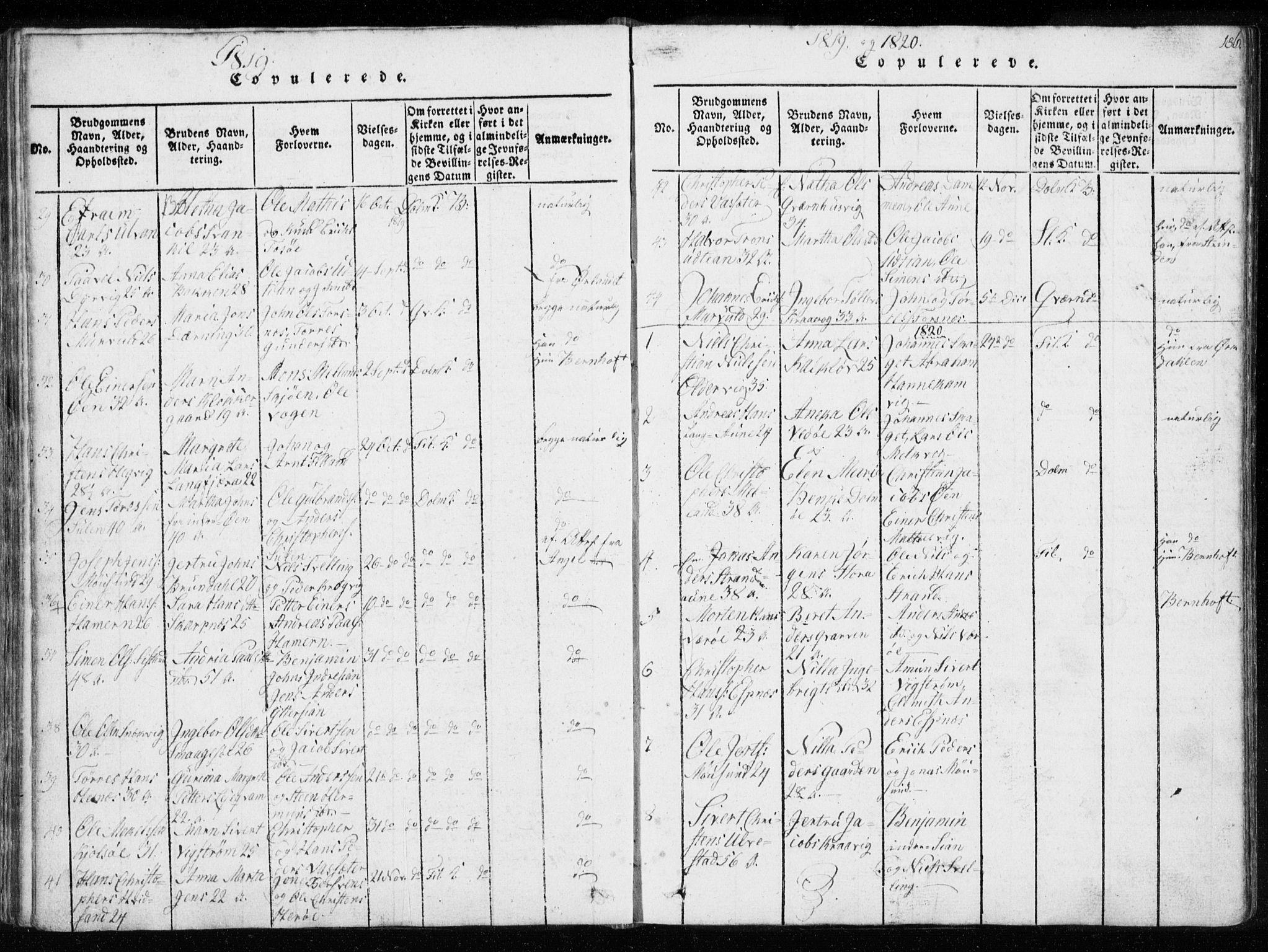 SAT, Ministerialprotokoller, klokkerbøker og fødselsregistre - Sør-Trøndelag, 634/L0527: Ministerialbok nr. 634A03, 1818-1826, s. 186