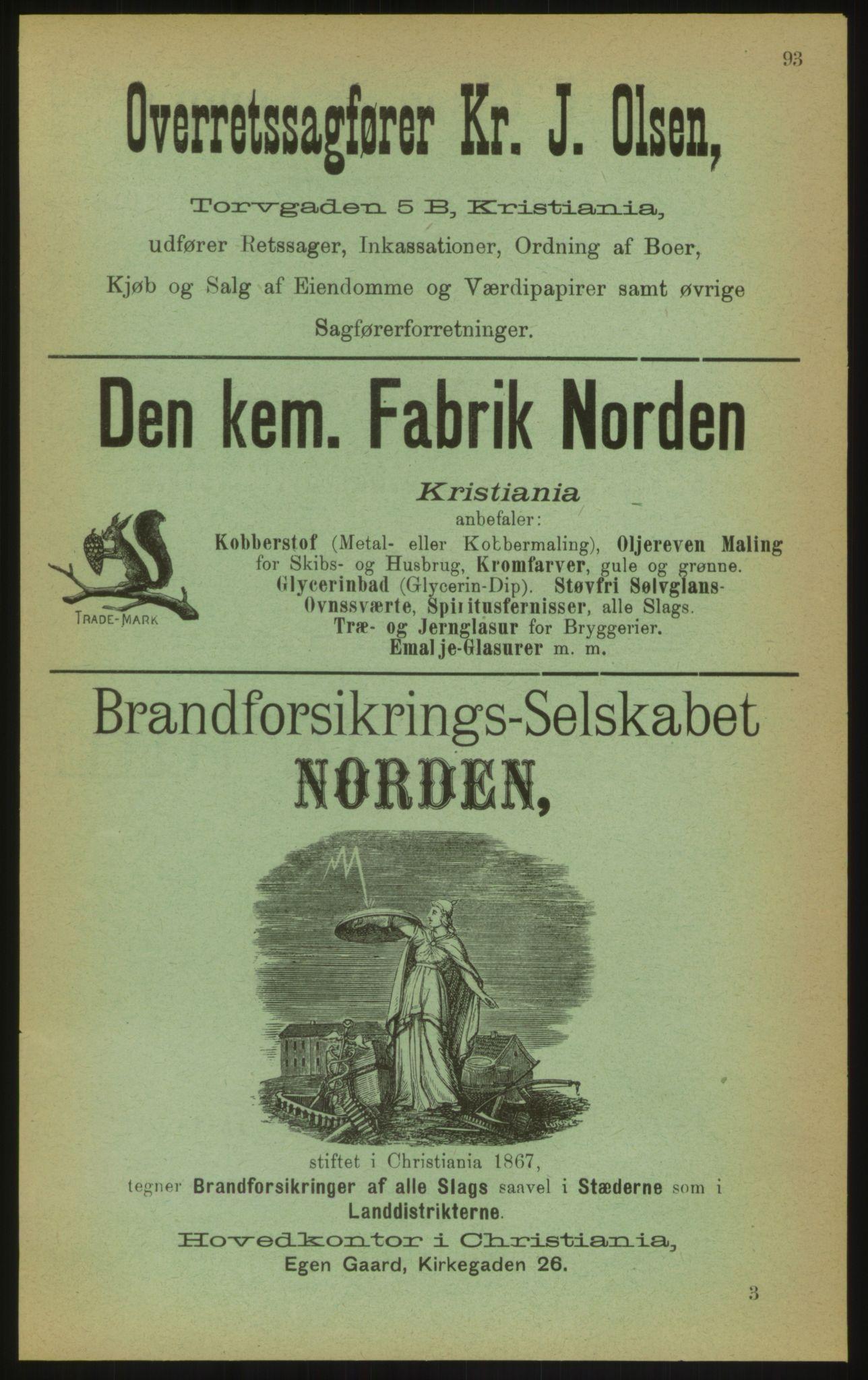 PUBL, Kristiania/Oslo adressebok, 1897, s. 93