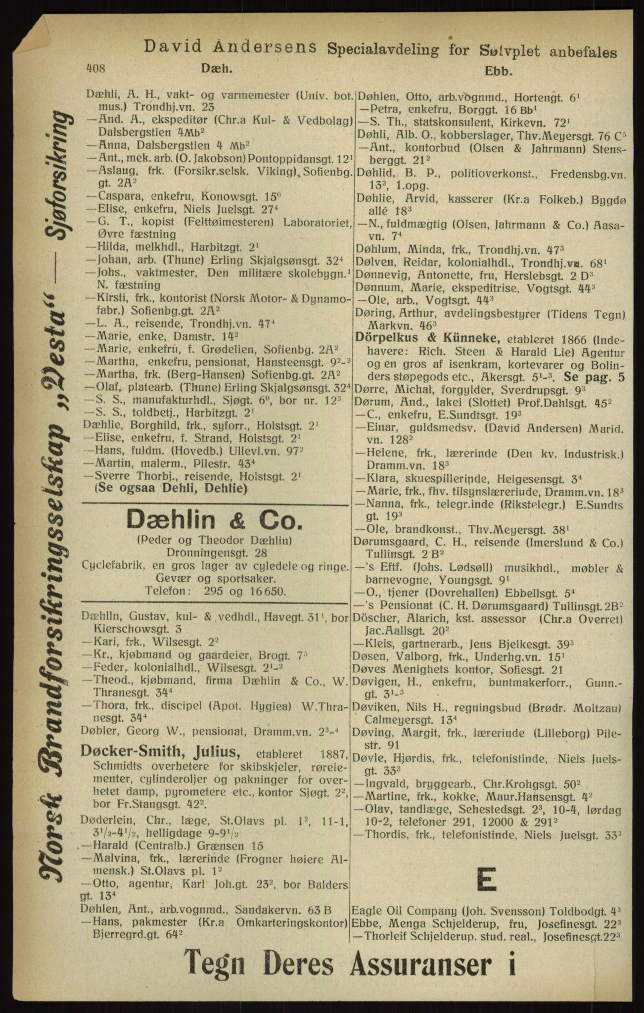 RA, Kristiania adressebok (publikasjon)*, 1916, s. 408