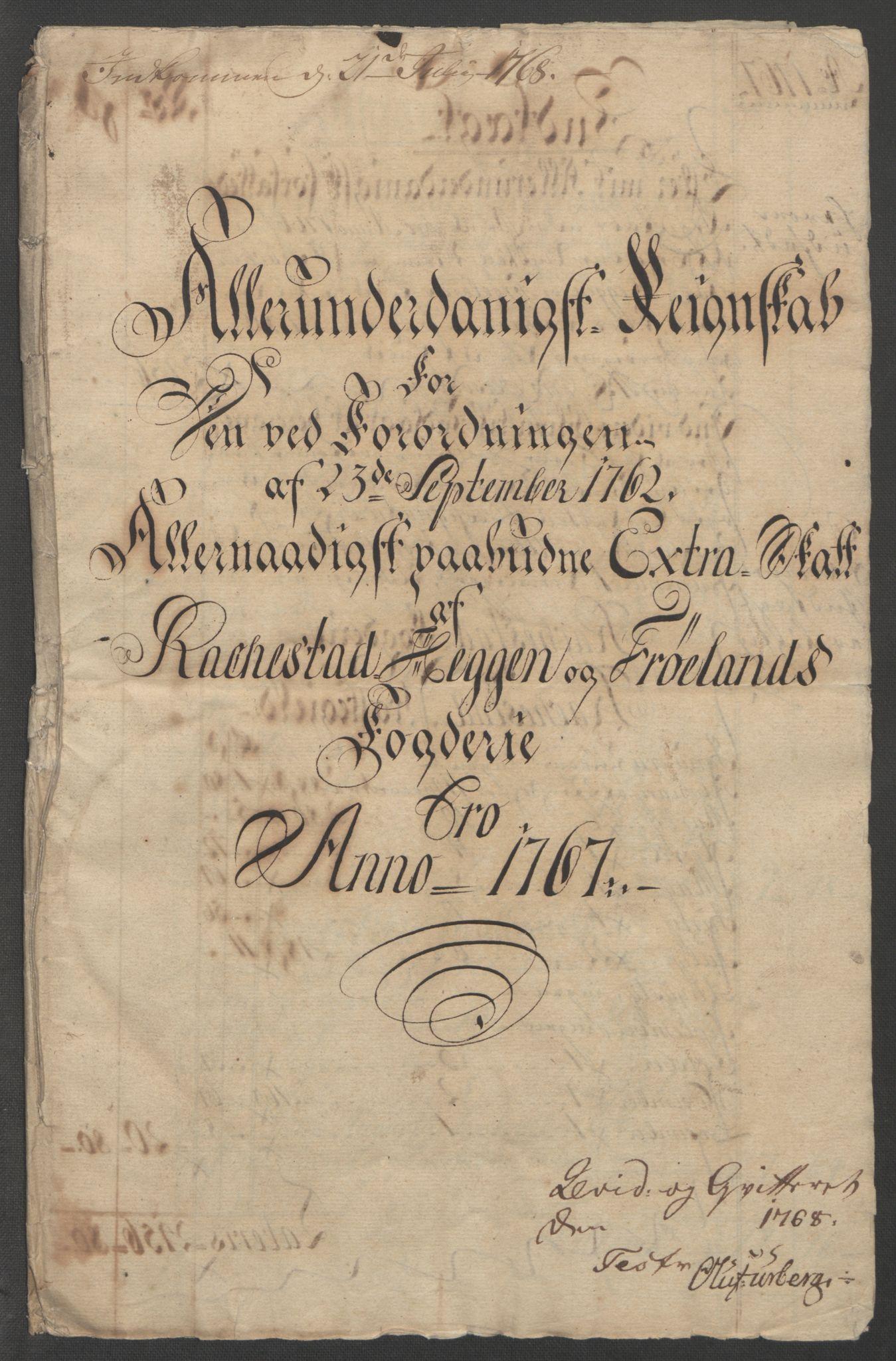RA, Rentekammeret inntil 1814, Reviderte regnskaper, Fogderegnskap, R07/L0413: Ekstraskatten Rakkestad, Heggen og Frøland, 1762-1772, s. 327