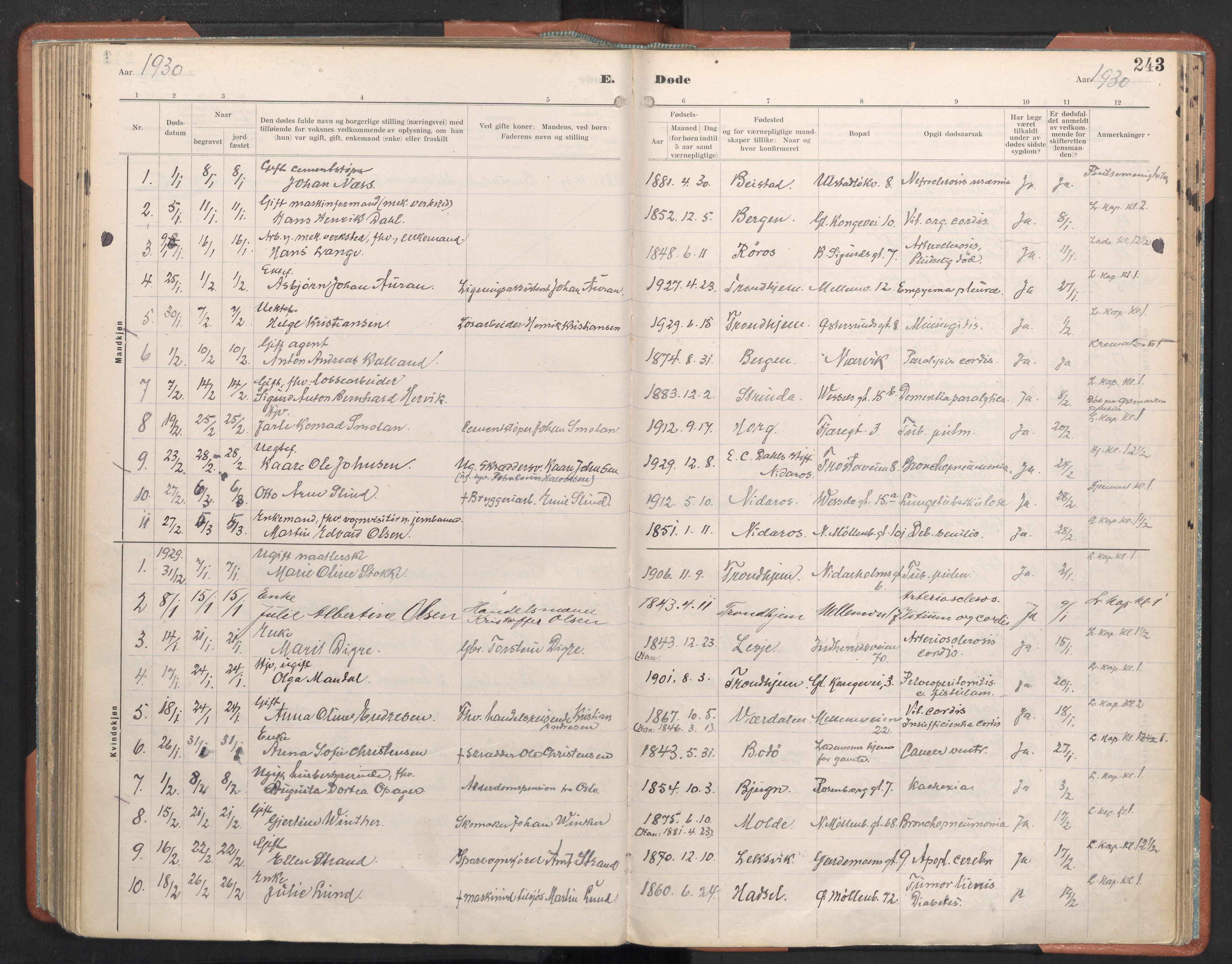 SAT, Ministerialprotokoller, klokkerbøker og fødselsregistre - Sør-Trøndelag, 605/L0245: Ministerialbok nr. 605A07, 1916-1938, s. 243