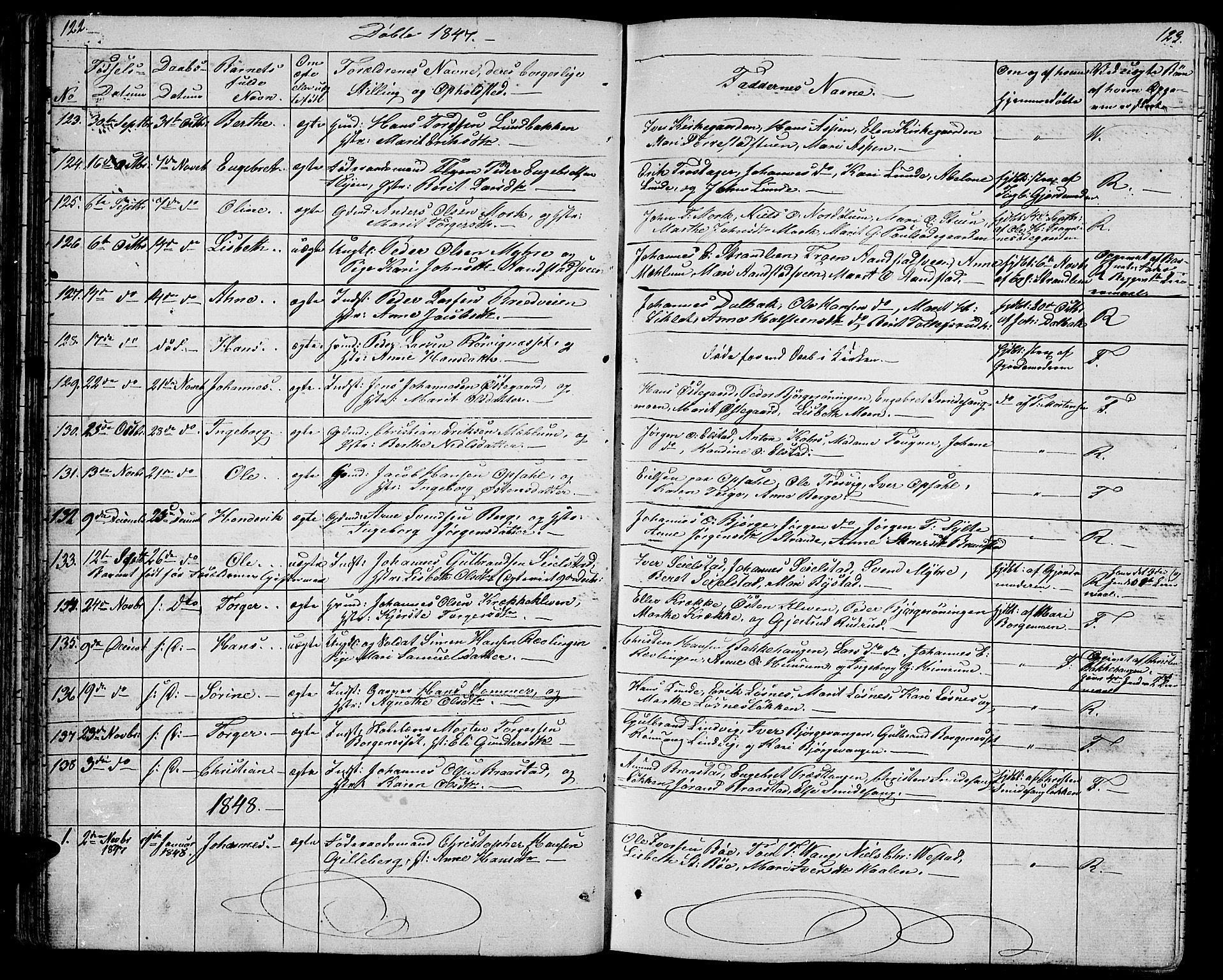 SAH, Ringebu prestekontor, Klokkerbok nr. 2, 1839-1853, s. 122-123