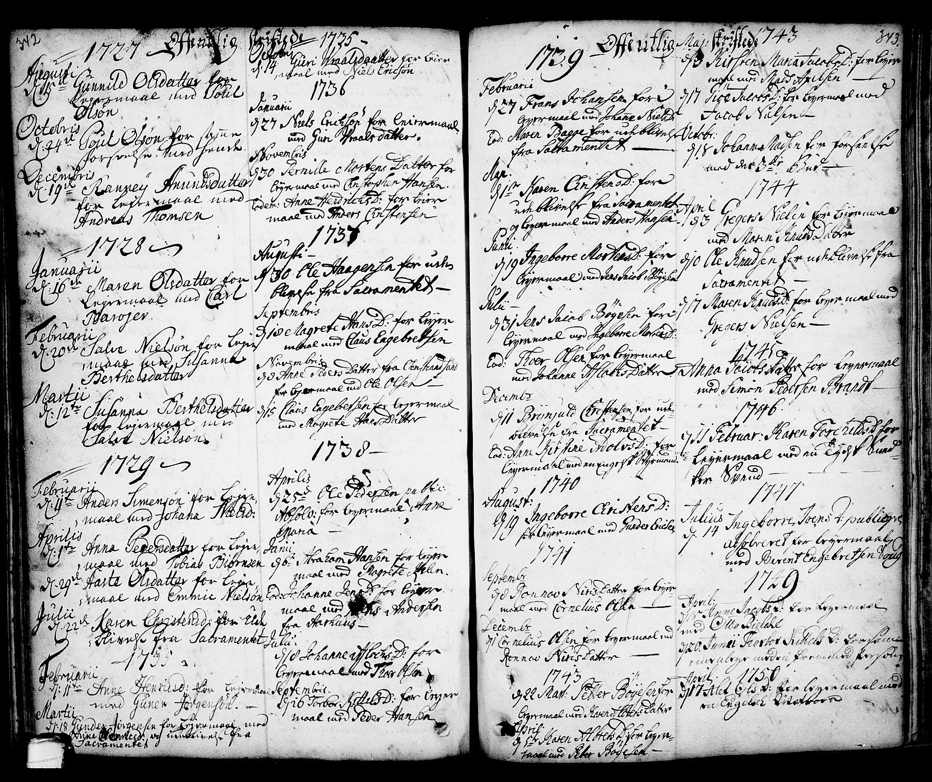 SAKO, Kragerø kirkebøker, F/Fa/L0001: Ministerialbok nr. 1, 1702-1766, s. 342-343