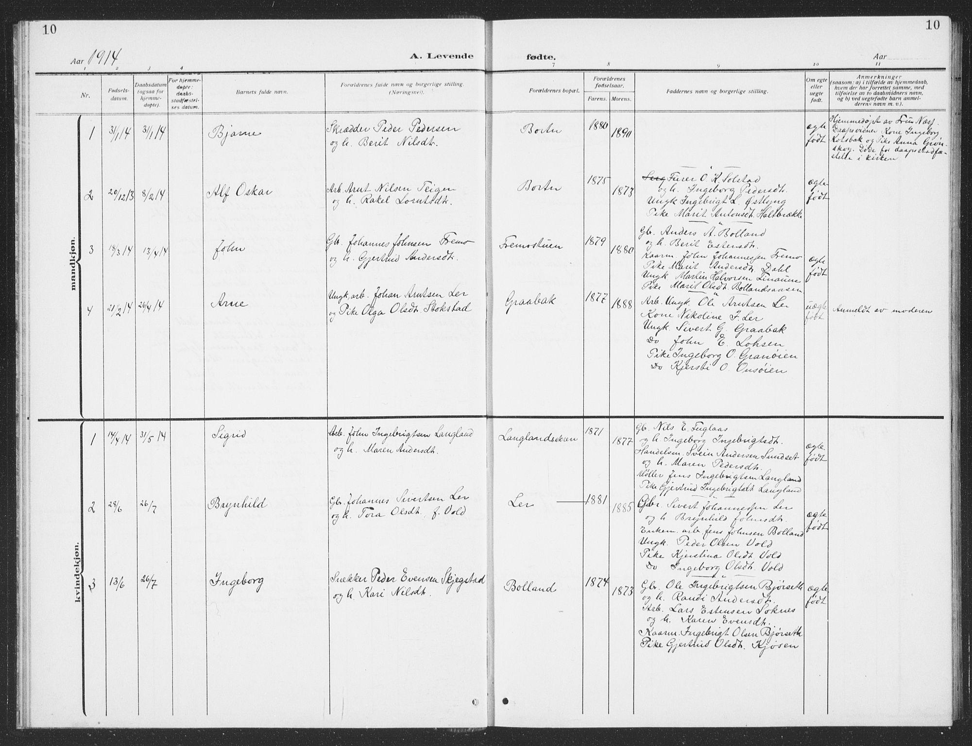 SAT, Ministerialprotokoller, klokkerbøker og fødselsregistre - Sør-Trøndelag, 693/L1124: Klokkerbok nr. 693C05, 1911-1941, s. 10