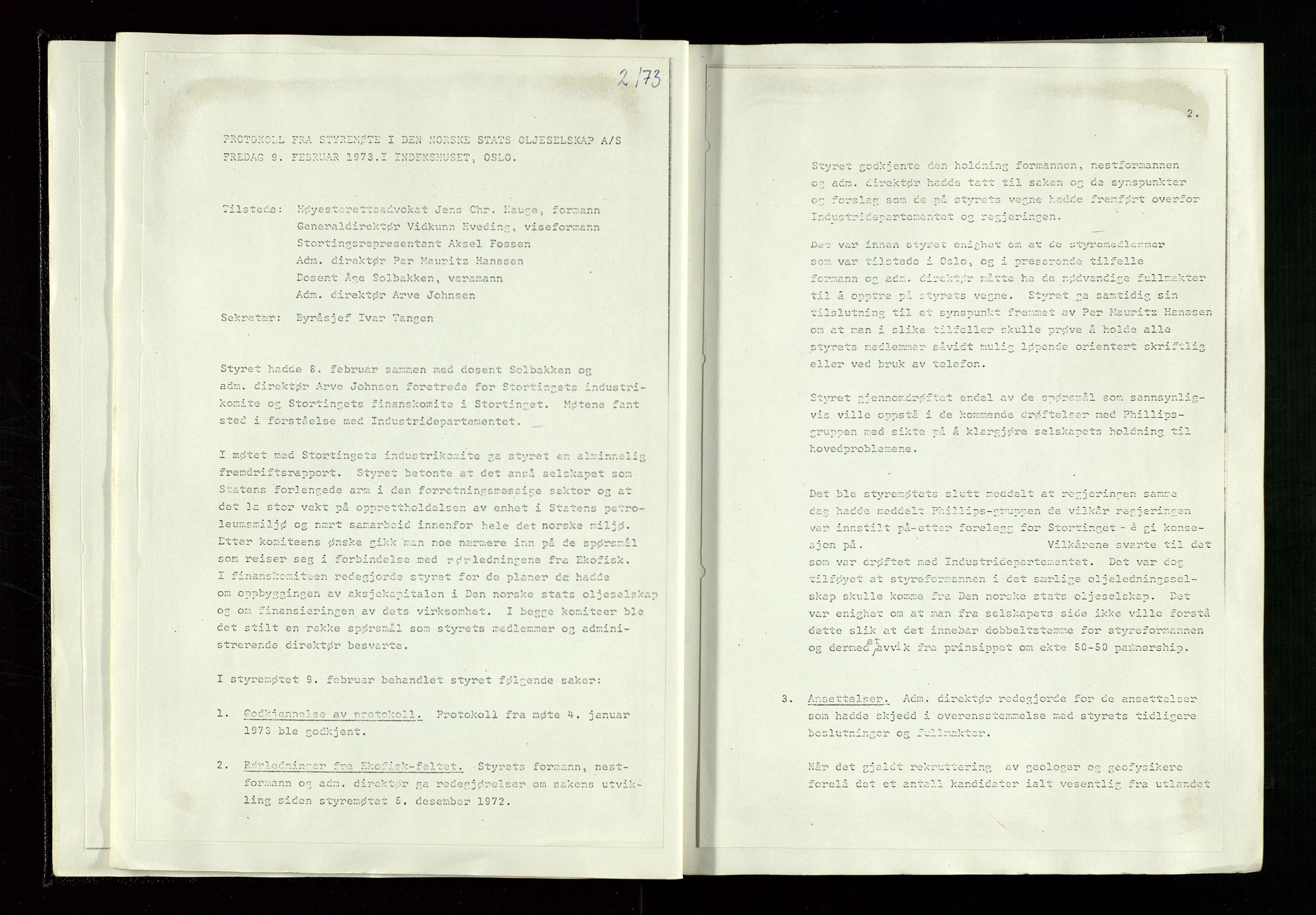 SAST, Pa 1339 - Statoil ASA, A/Ab/Aba/L0001: Styremøteprotokoller, 05.10.1972 til 14.12.1978, 1972-1978, s. 18