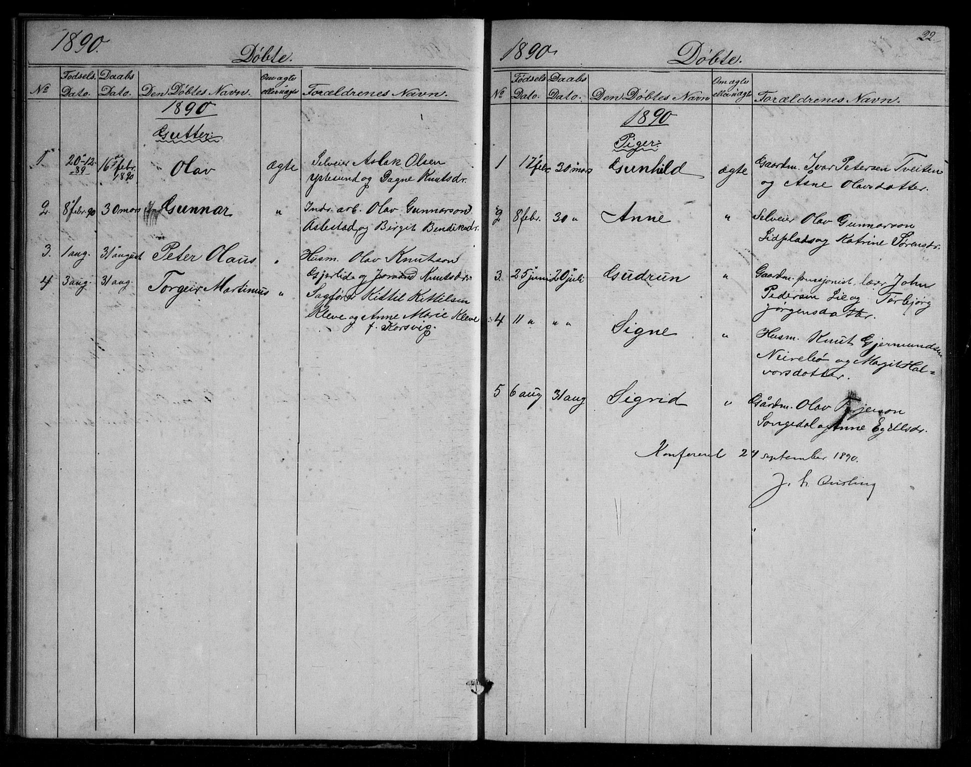 SAKO, Fyresdal kirkebøker, G/Gb/L0001: Klokkerbok nr. II 1, 1864-1890, s. 22