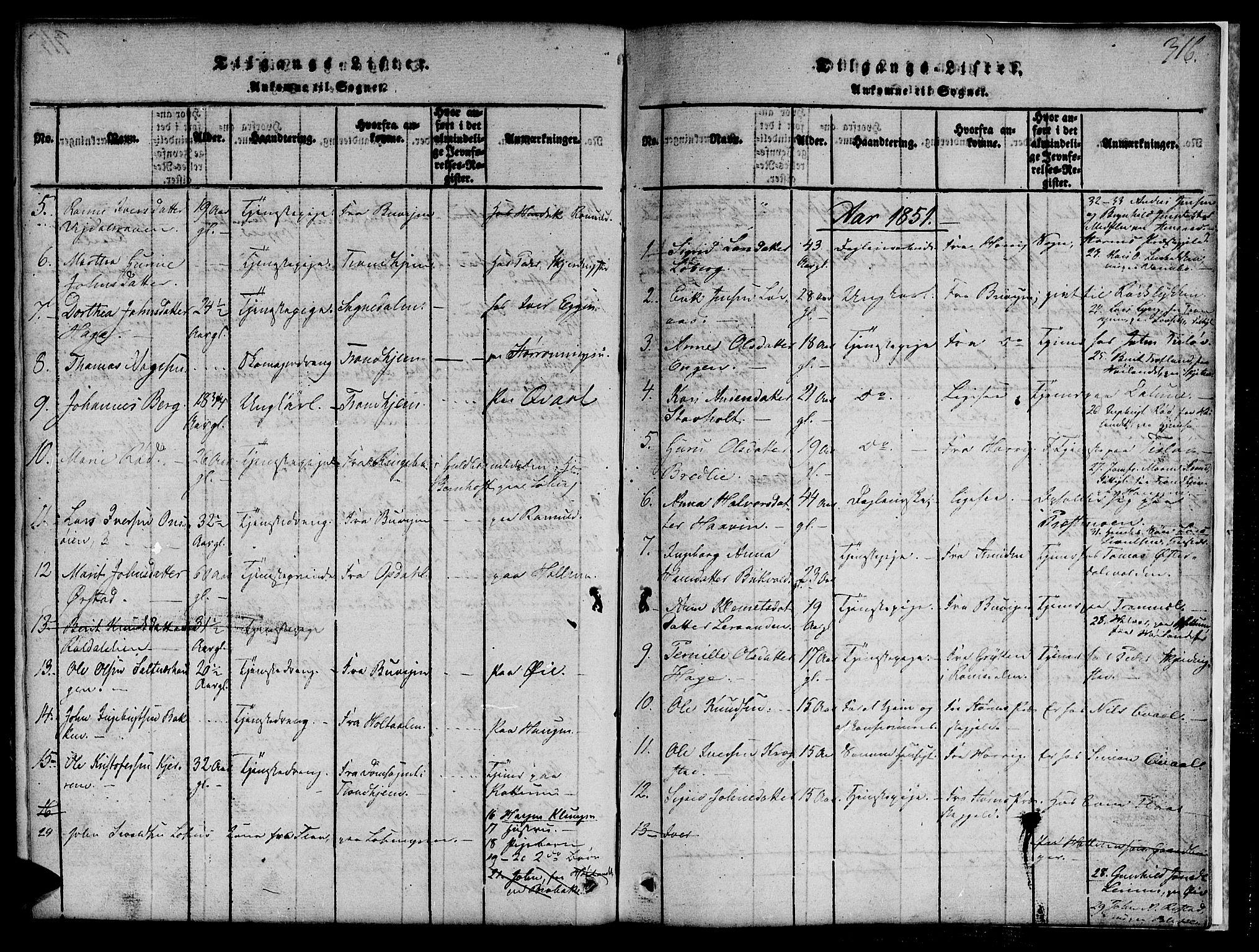 SAT, Ministerialprotokoller, klokkerbøker og fødselsregistre - Sør-Trøndelag, 691/L1092: Klokkerbok nr. 691C03, 1816-1852, s. 316